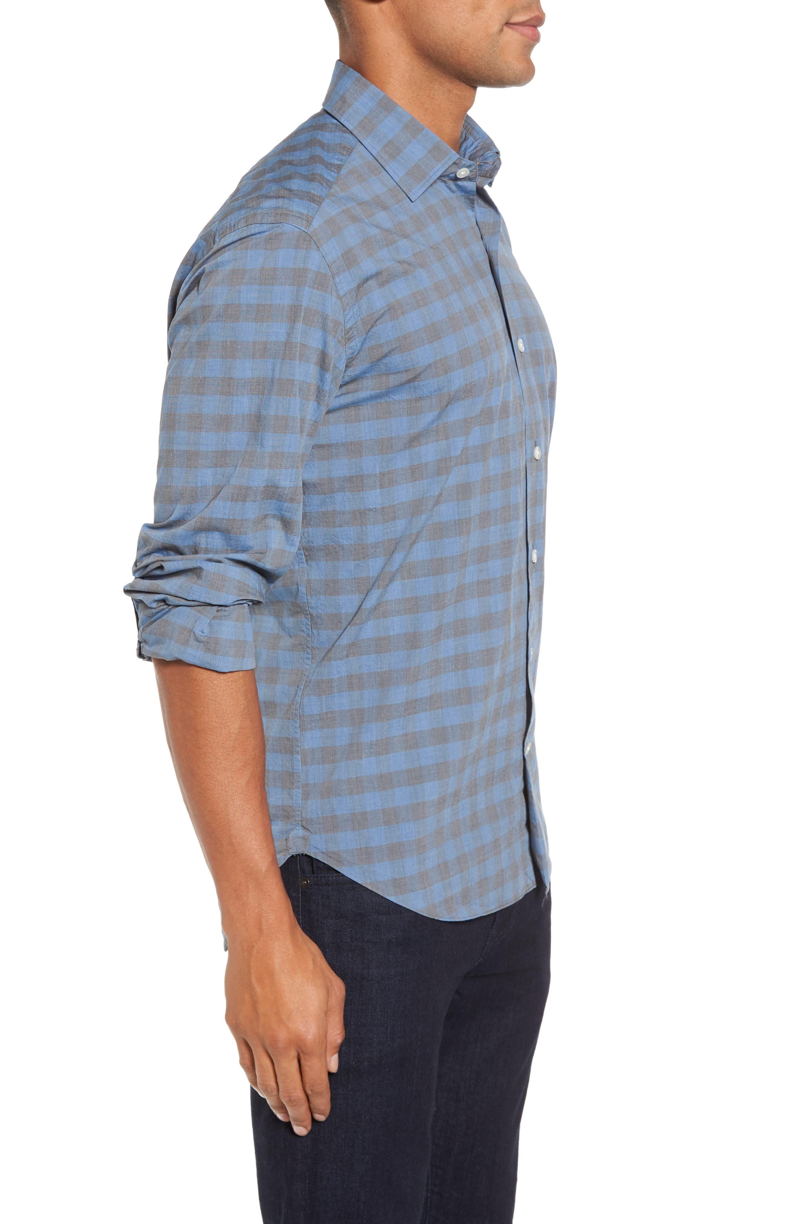 Slim Fit Check Sport Shirt,                             Alternate thumbnail 3, color,                             400