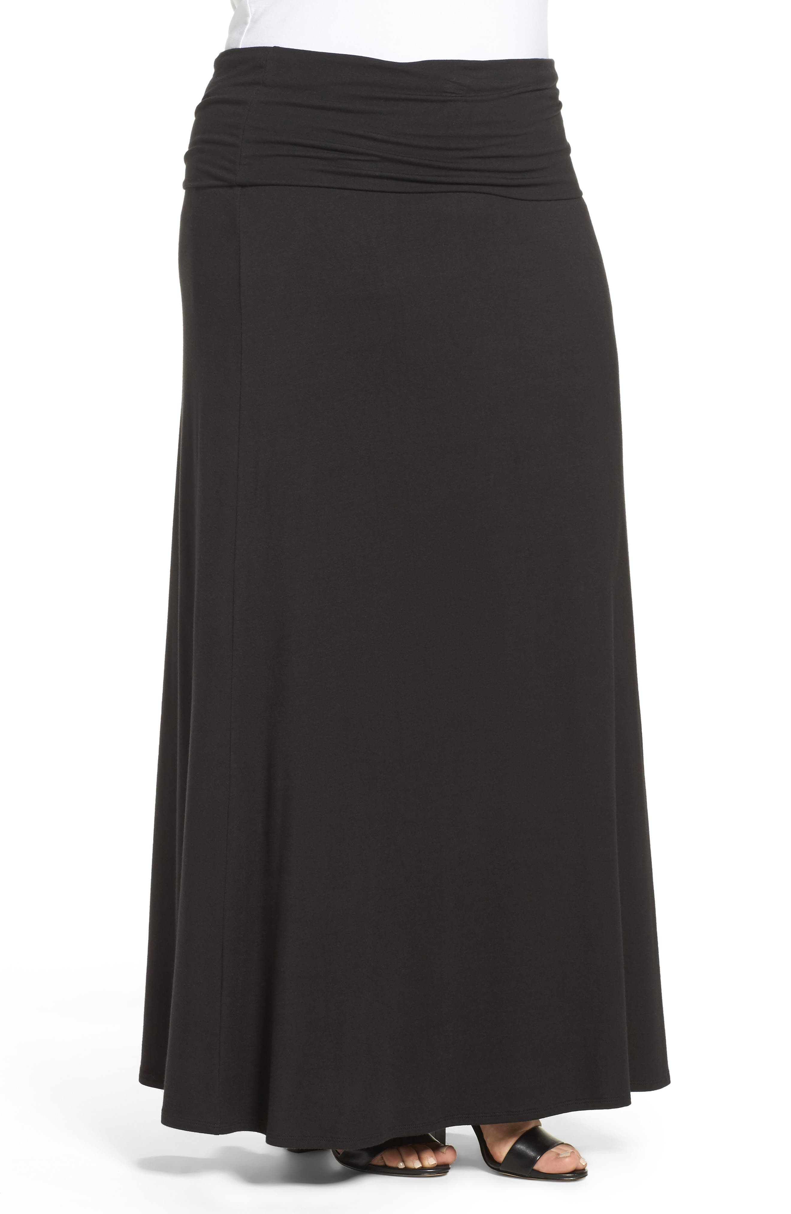 Fold Over Maxi Skirt,                             Alternate thumbnail 3, color,                             BLACK