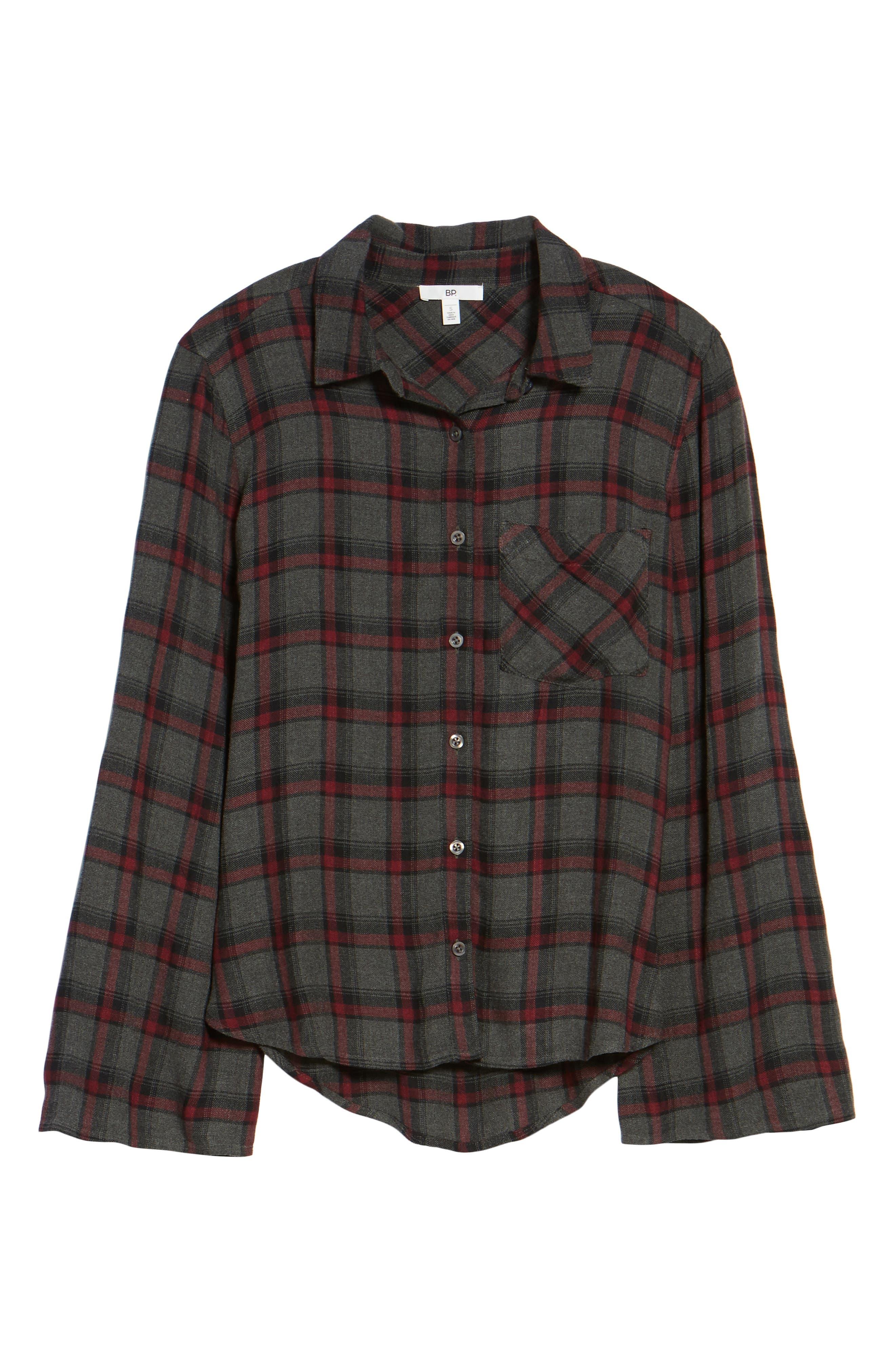 Flare Sleeve Plaid Shirt,                             Alternate thumbnail 6, color,                             030