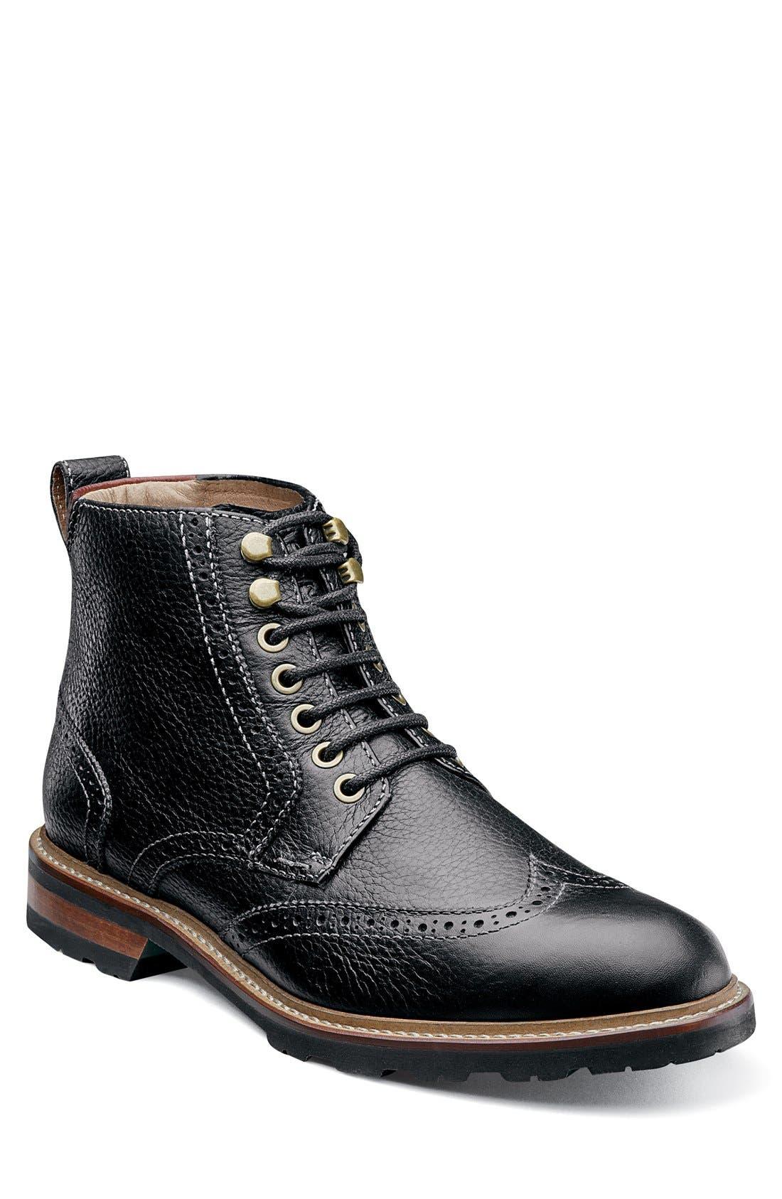 FLORSHEIM,                             'Kilbourn' Wingtip Boot,                             Main thumbnail 1, color,                             001