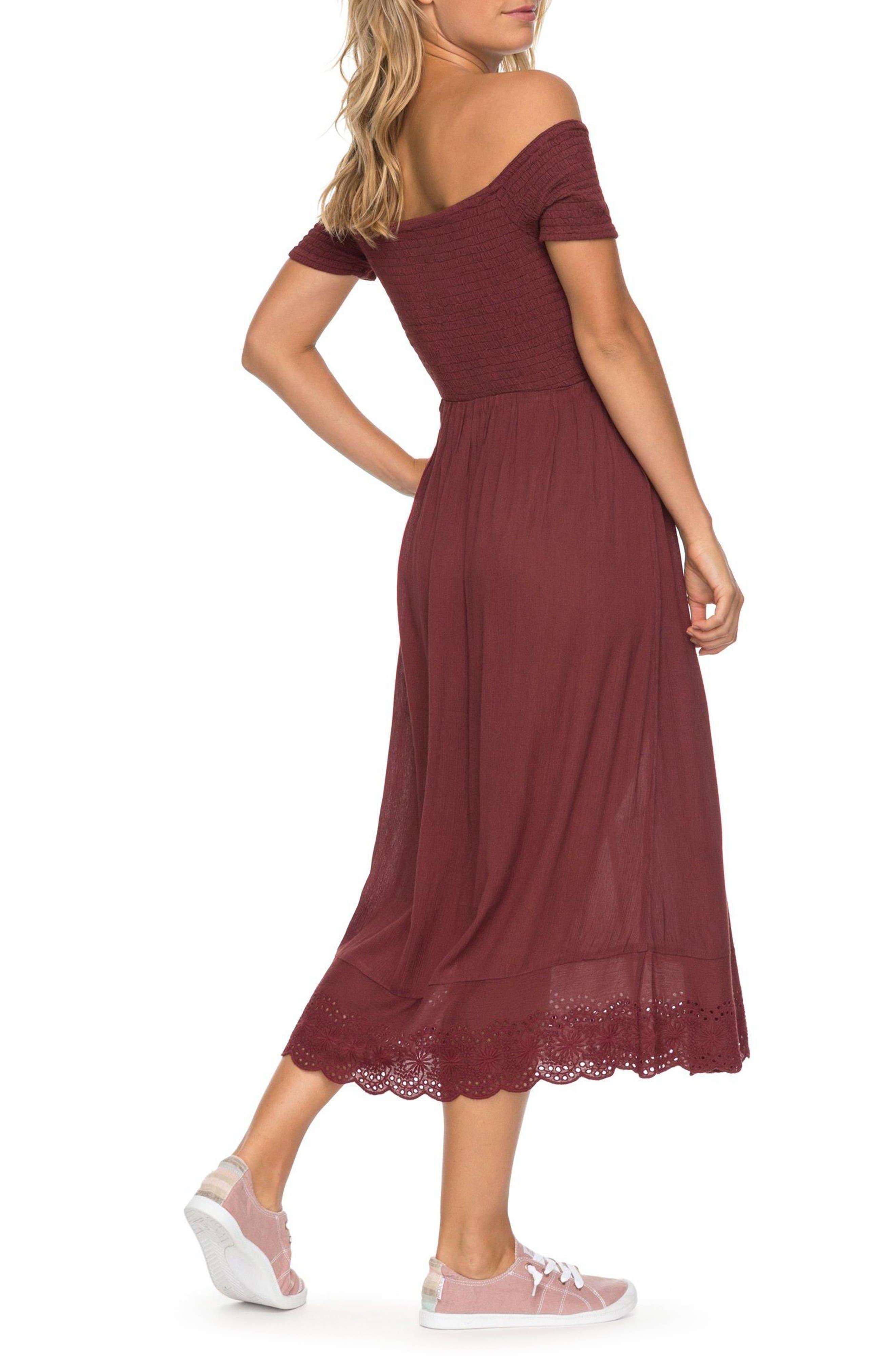 Pretty Lovers Off the Shoulder Midi Dress,                             Alternate thumbnail 6, color,