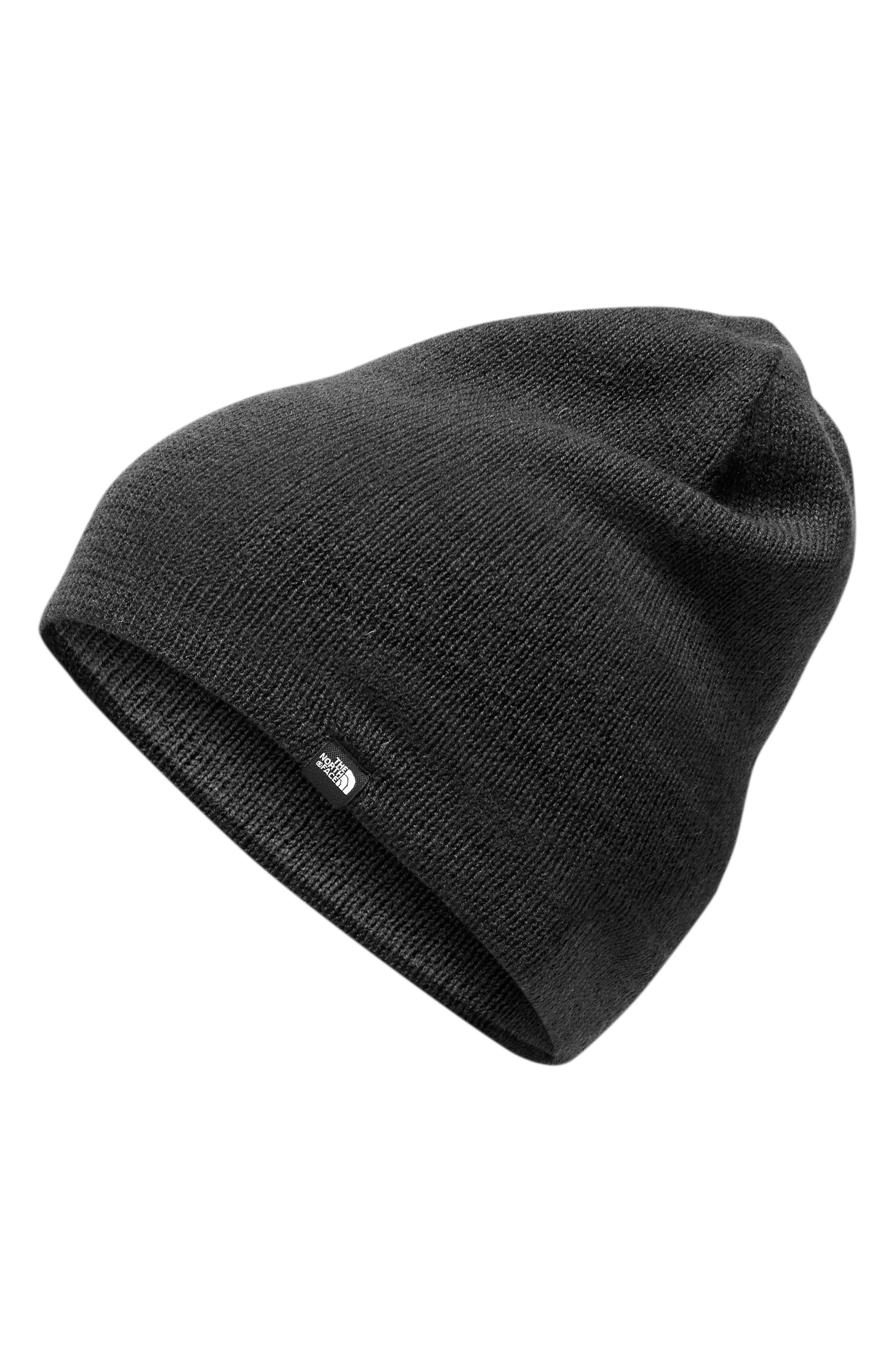 Reversible Merino Wool Beanie,                         Main,                         color, BLACK/DARK GREY HEATHER