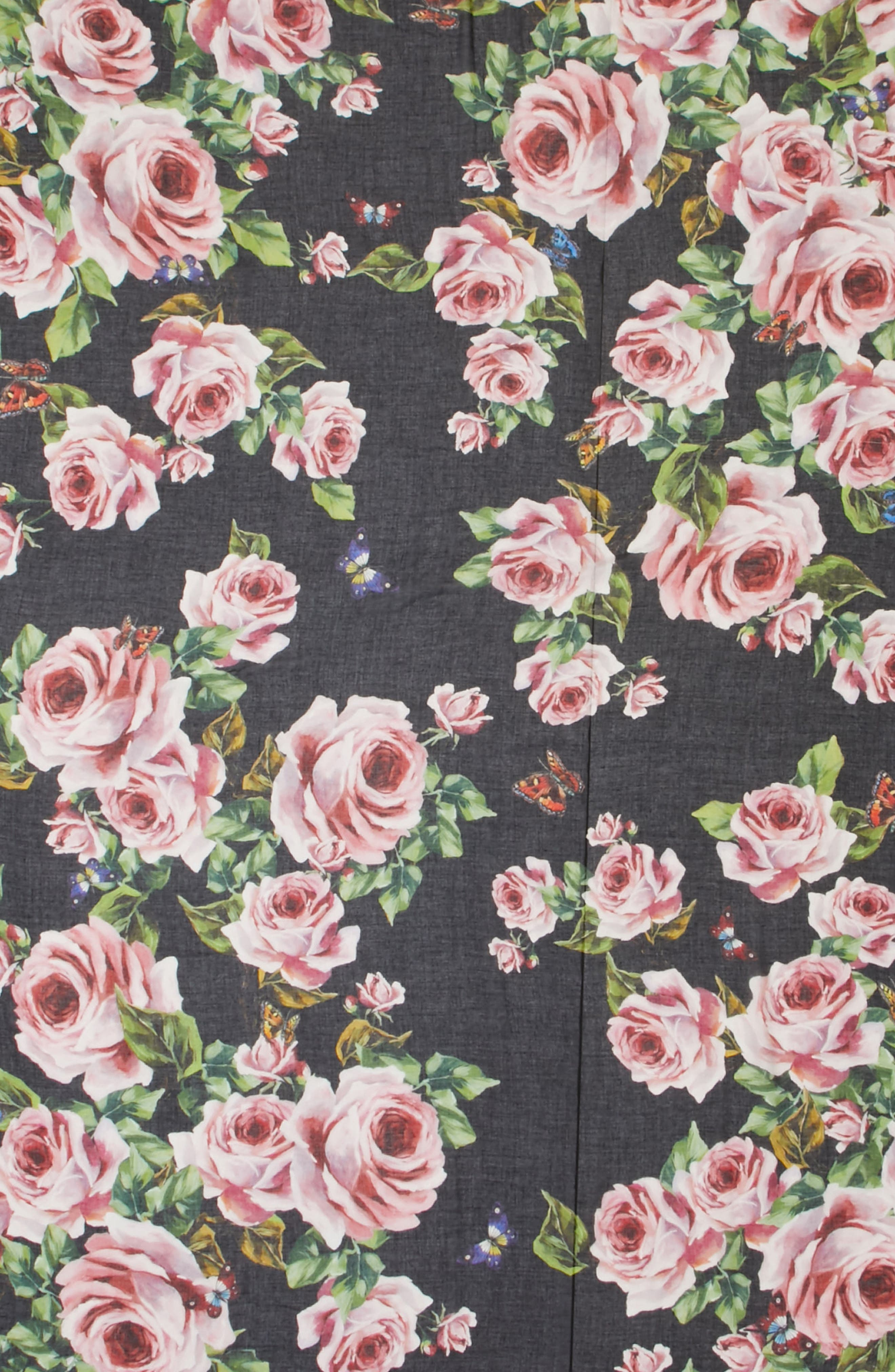 Rose Print Modal & Cashmere Scarf,                             Alternate thumbnail 4, color,                             001