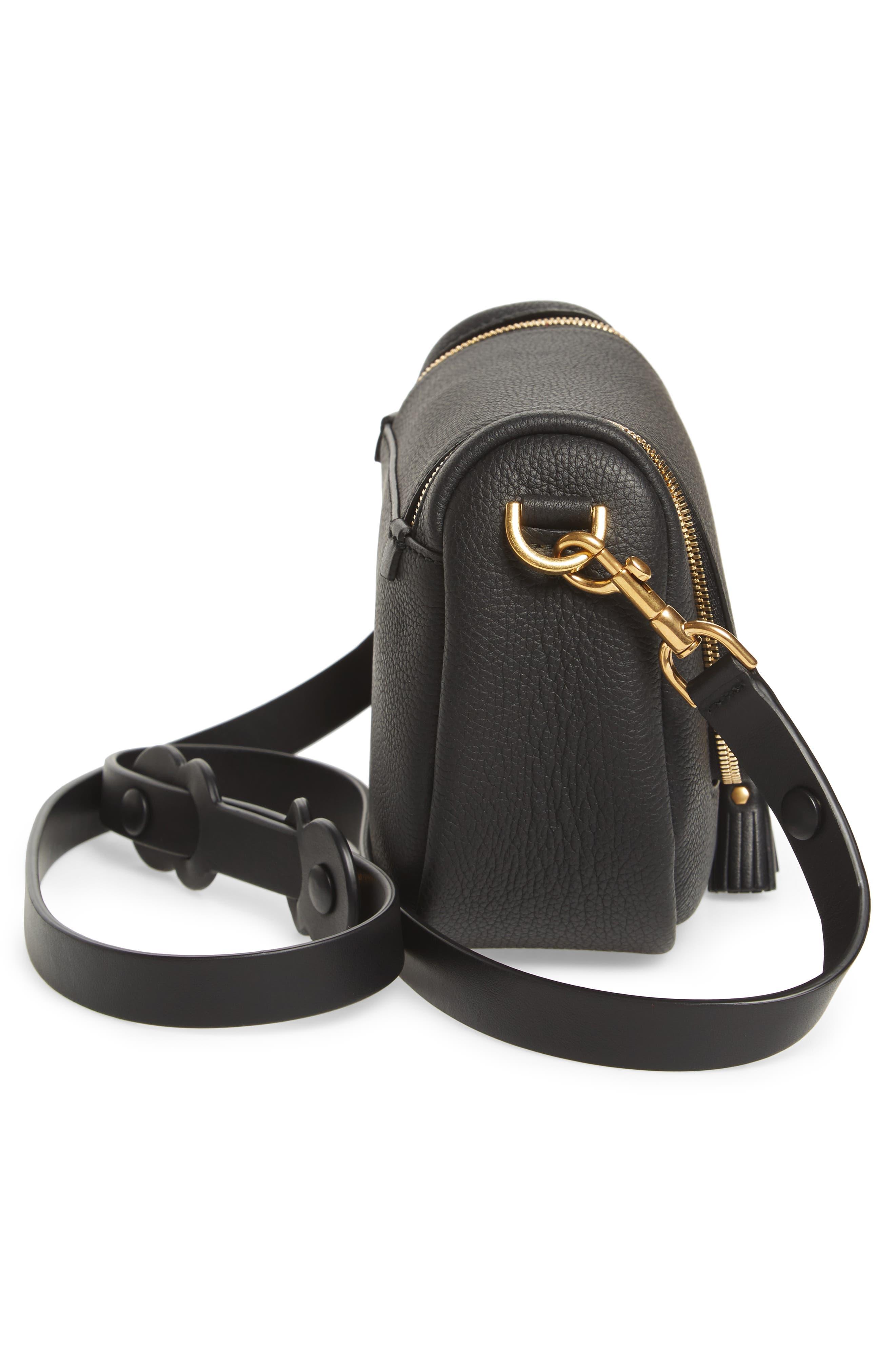 Small Vere Leather Crossbody Satchel,                             Alternate thumbnail 5, color,                             BLACK