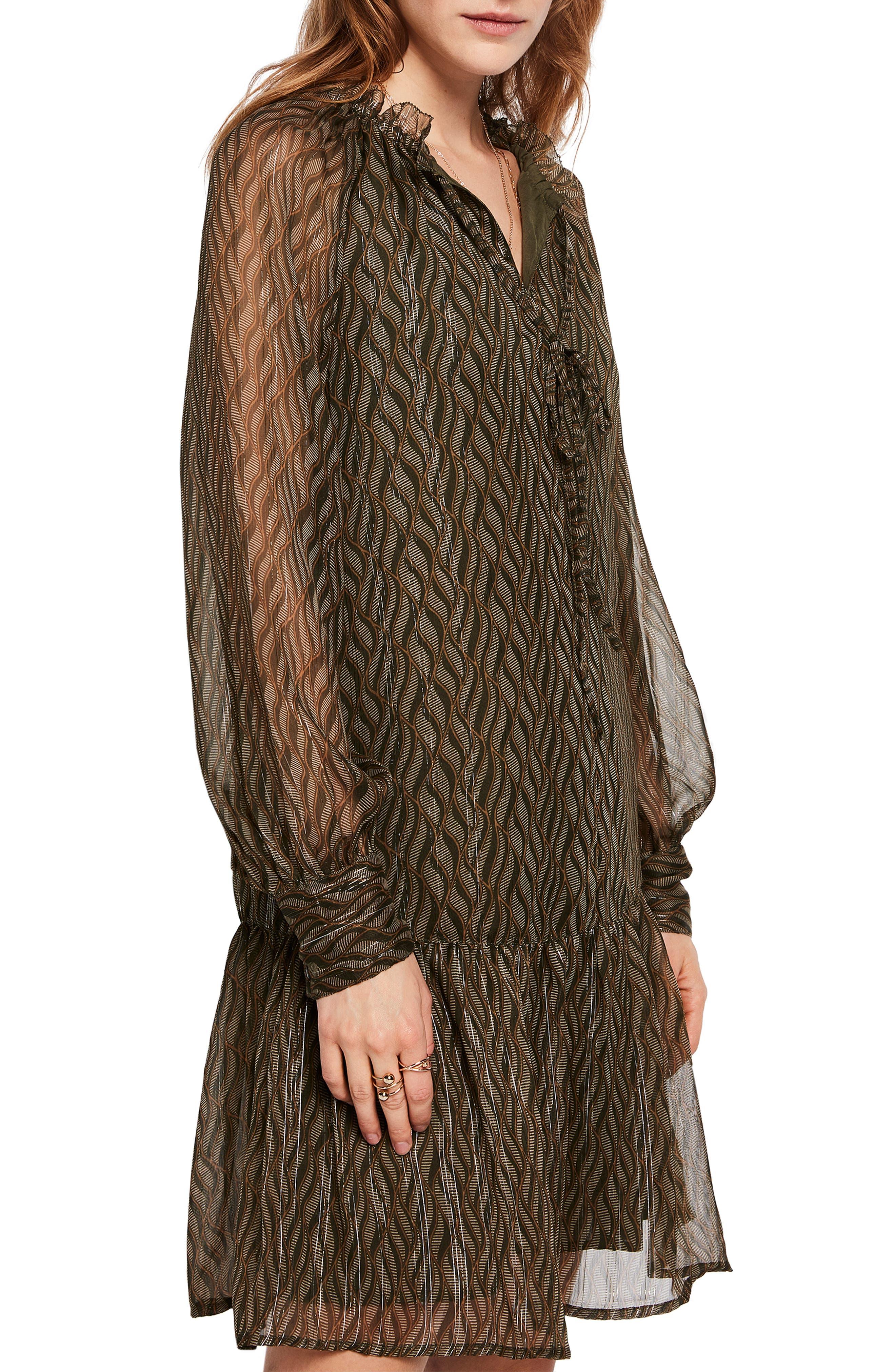 Print Metallic Ruffle Hem Dress,                             Alternate thumbnail 2, color,                             SAGE GREEN PRINT W/