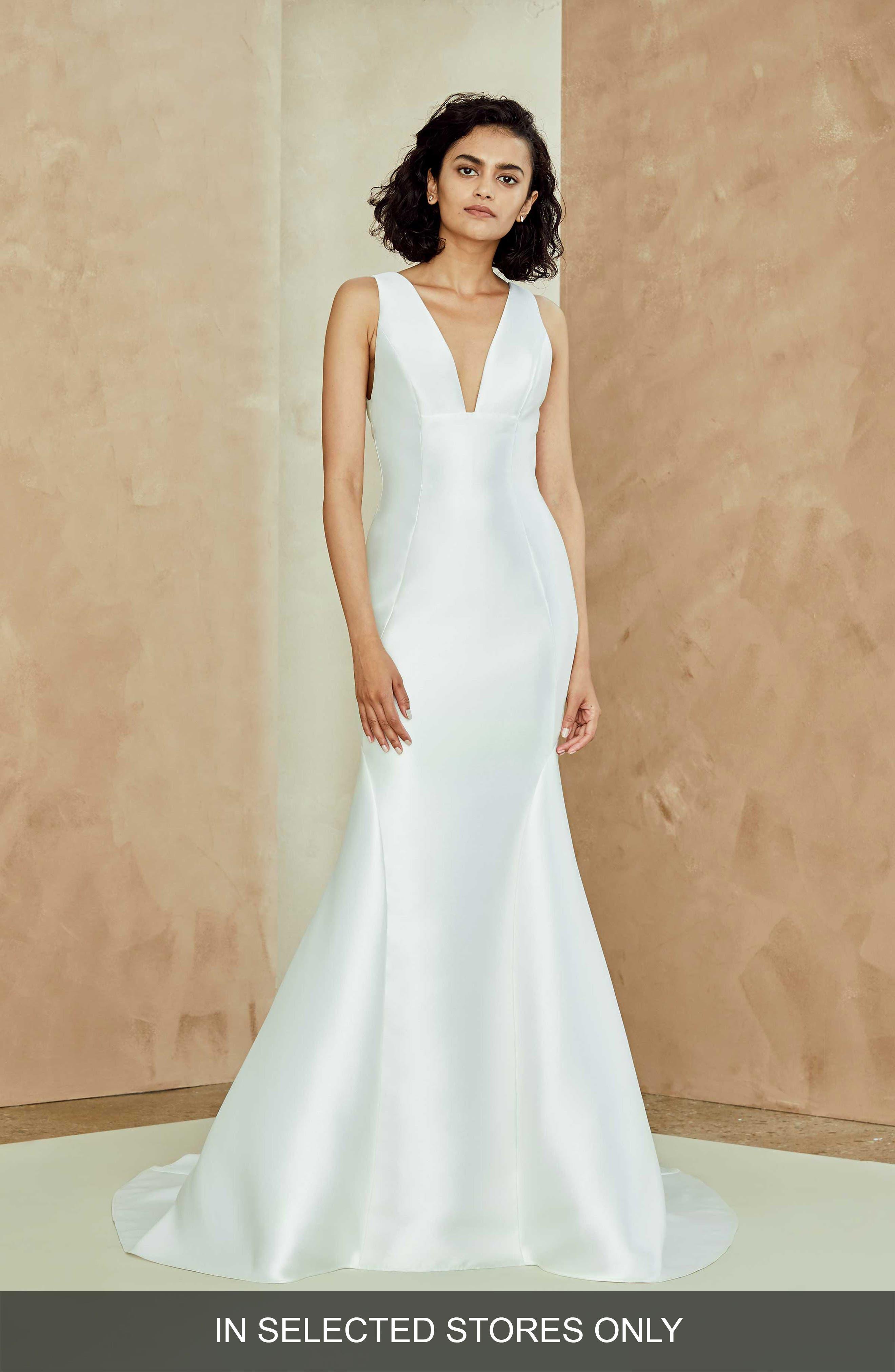 Nouvelle Amsale Lydia Mikado Trumpet Gown, Size - White