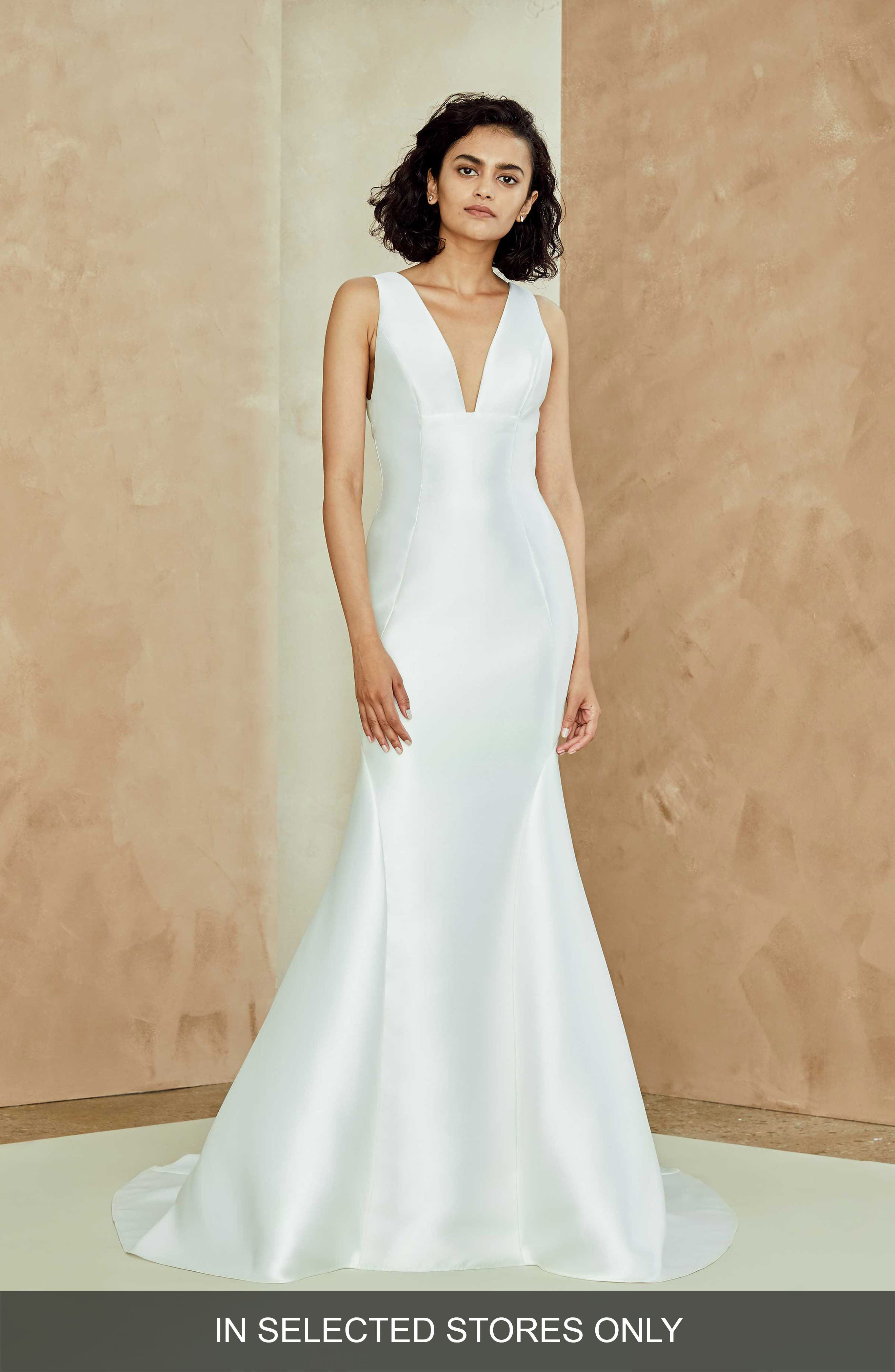 Lydia Mikado Trumpet Gown,                             Main thumbnail 1, color,                             IVORY