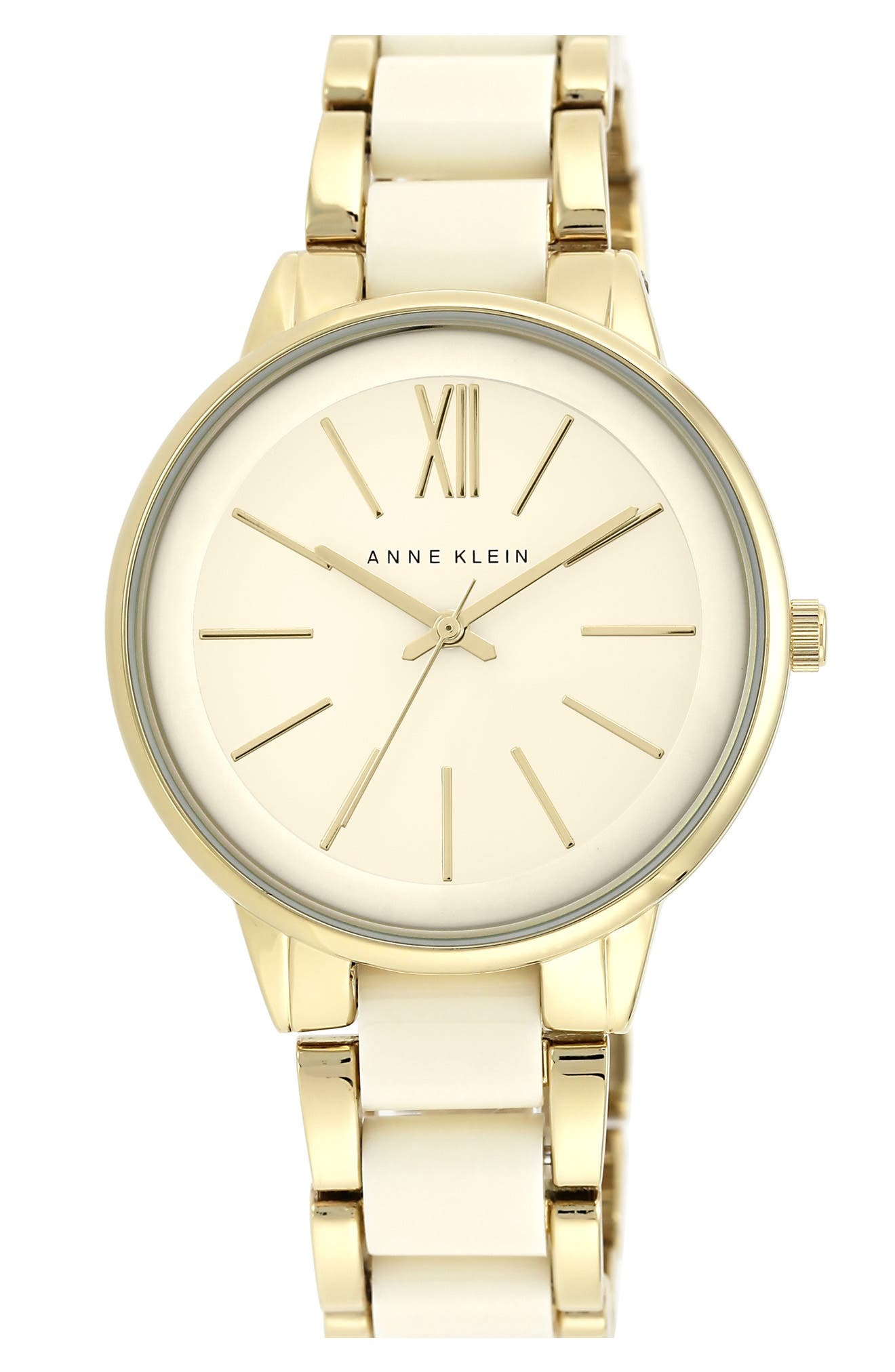 Round Bracelet Watch, 43mm,                             Alternate thumbnail 3, color,                             IVORY/ GOLD