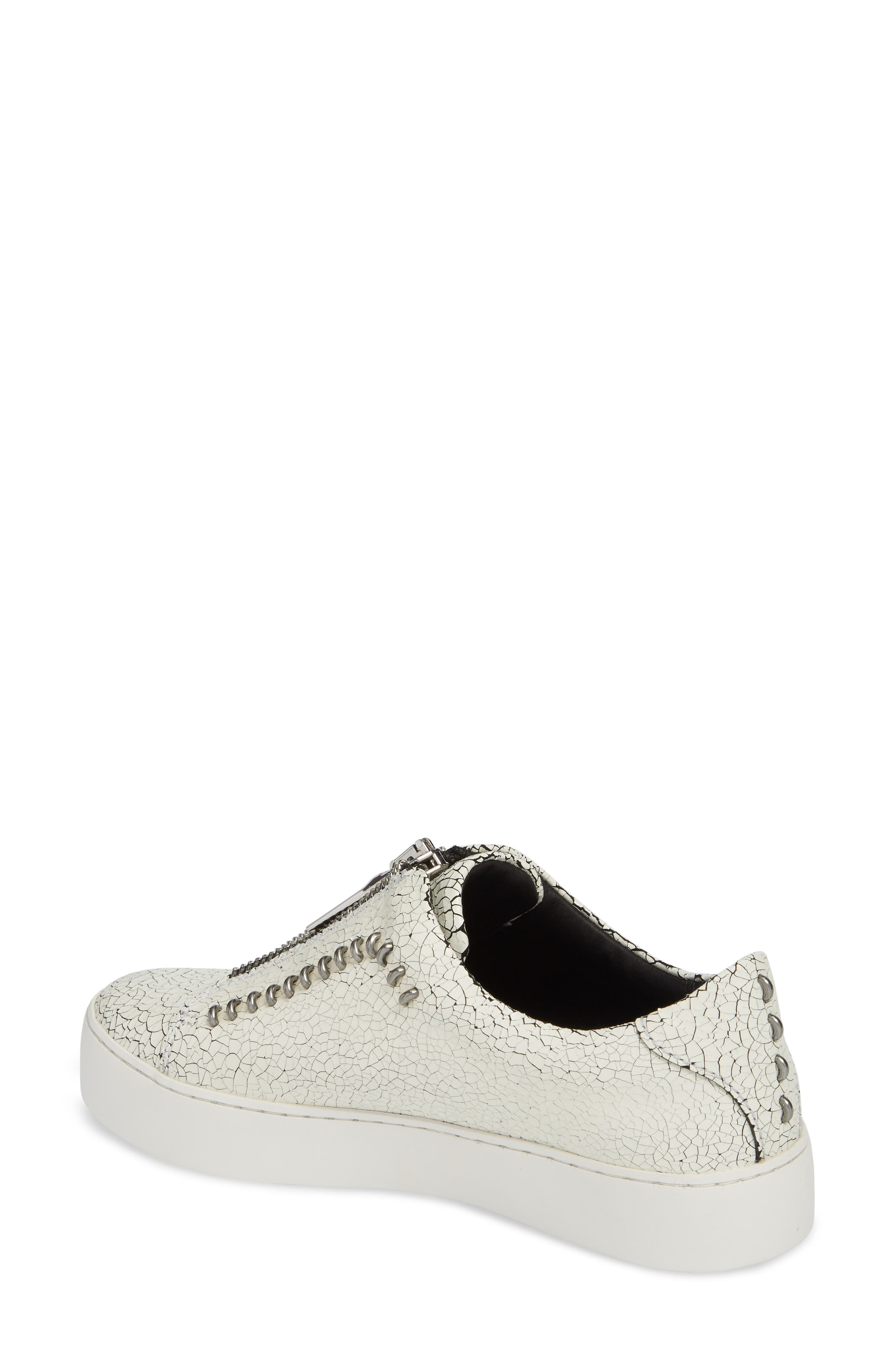 Lena Rebel Zip Sneaker,                             Alternate thumbnail 2, color,                             WHITE LEATHER