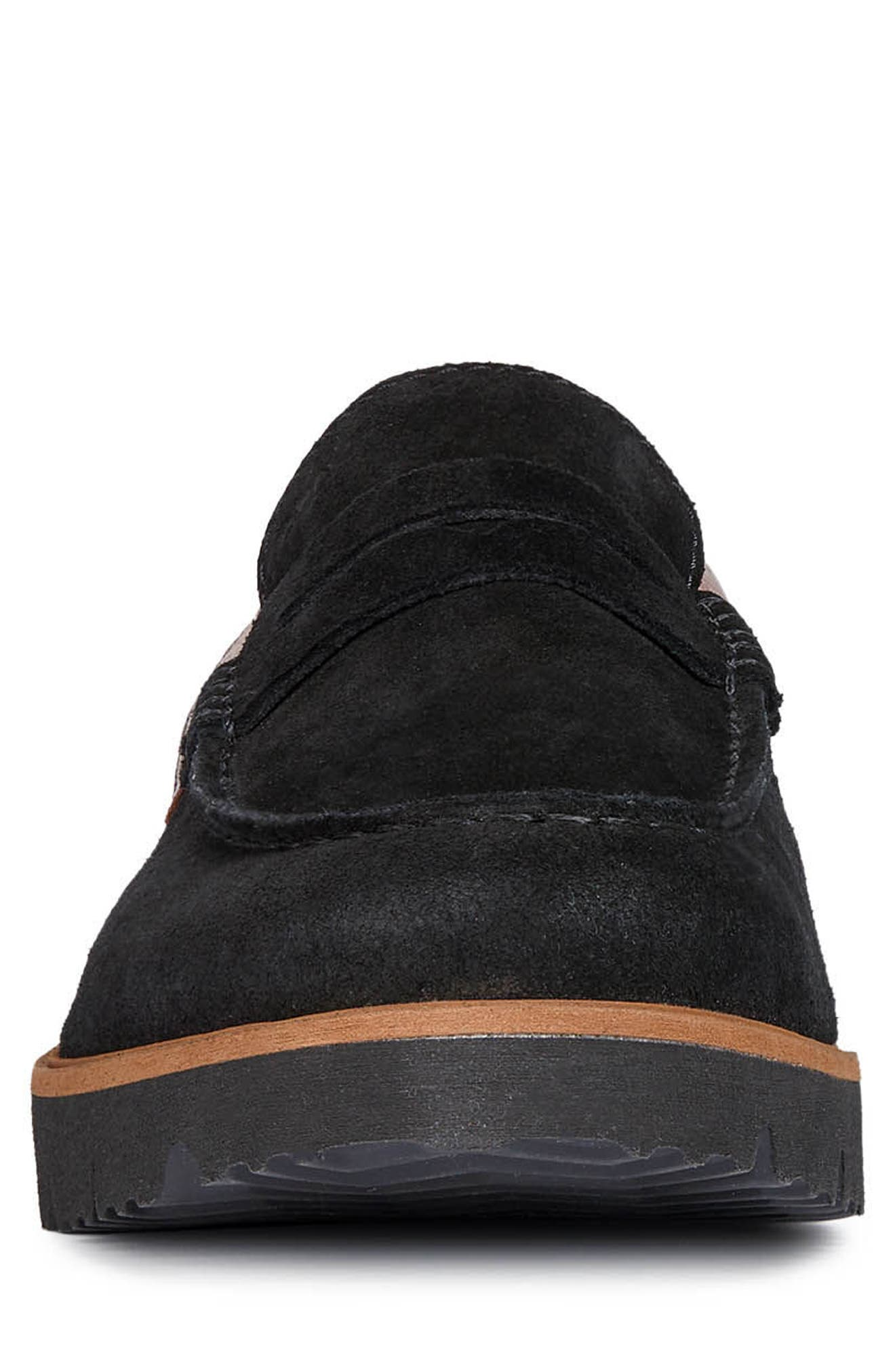New Pluges 6 Penny Loafer,                             Alternate thumbnail 4, color,                             BLACK/ BROWN LEATHER