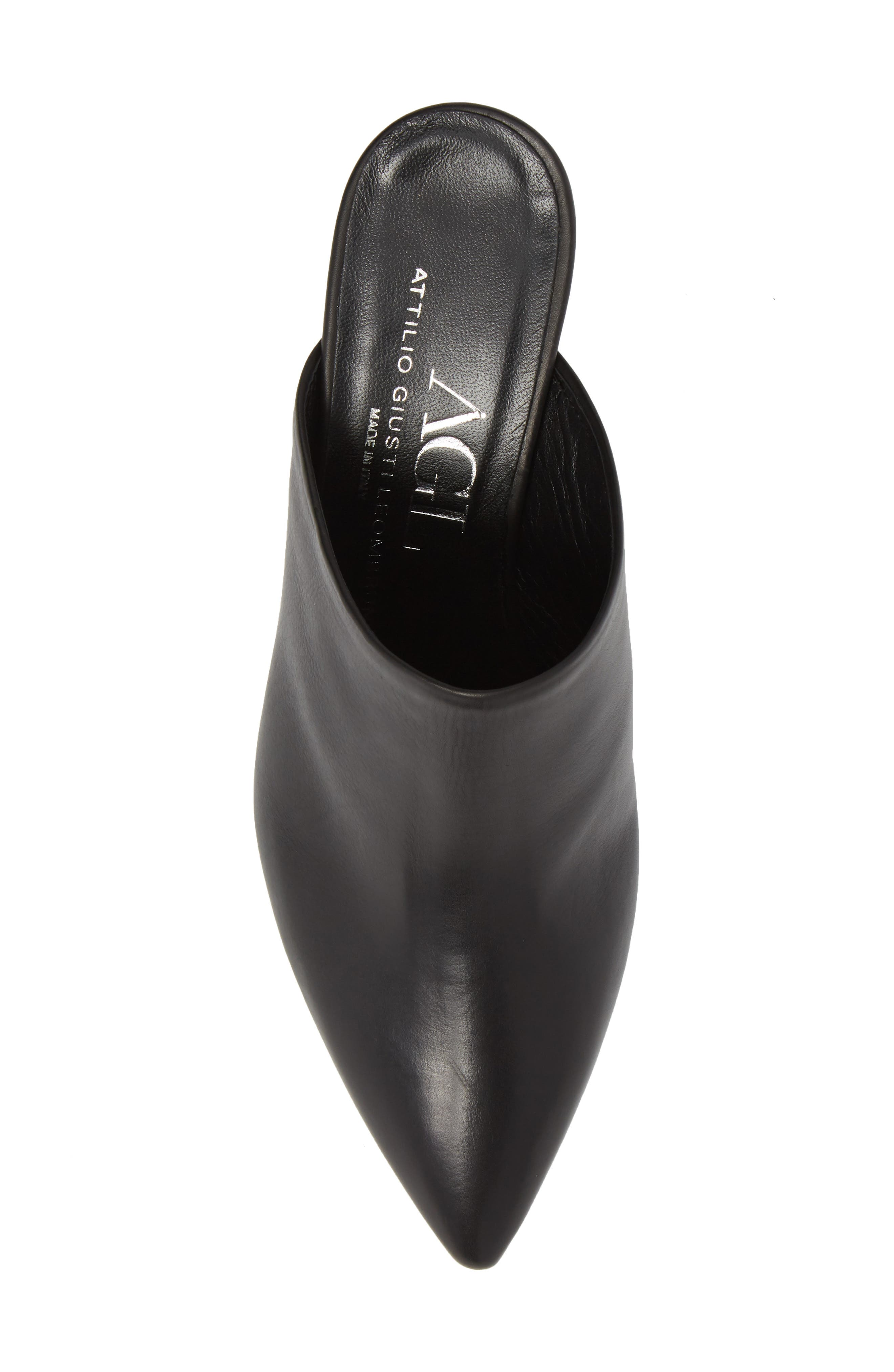 Pointy Toe Mule,                             Alternate thumbnail 5, color,                             BLACK LEATHER