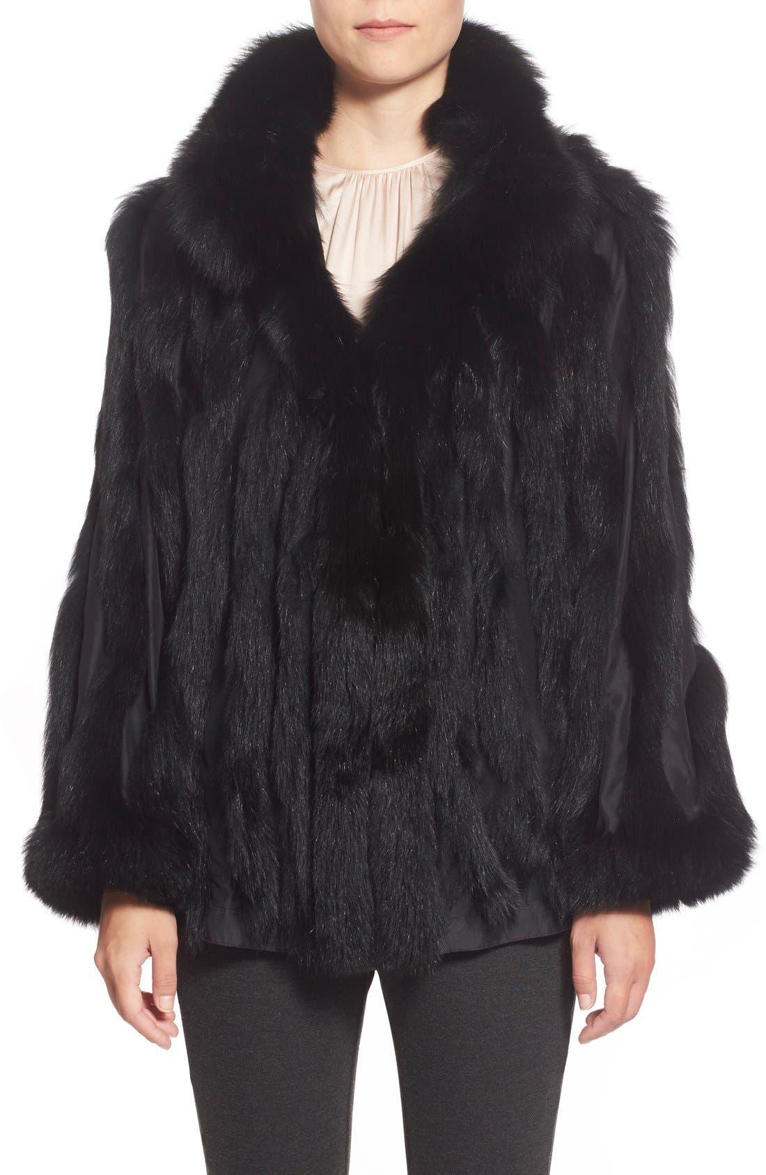 GeorgeSimonton Reversible Silk & Genuine Fox Fur Topper,                             Alternate thumbnail 27, color,