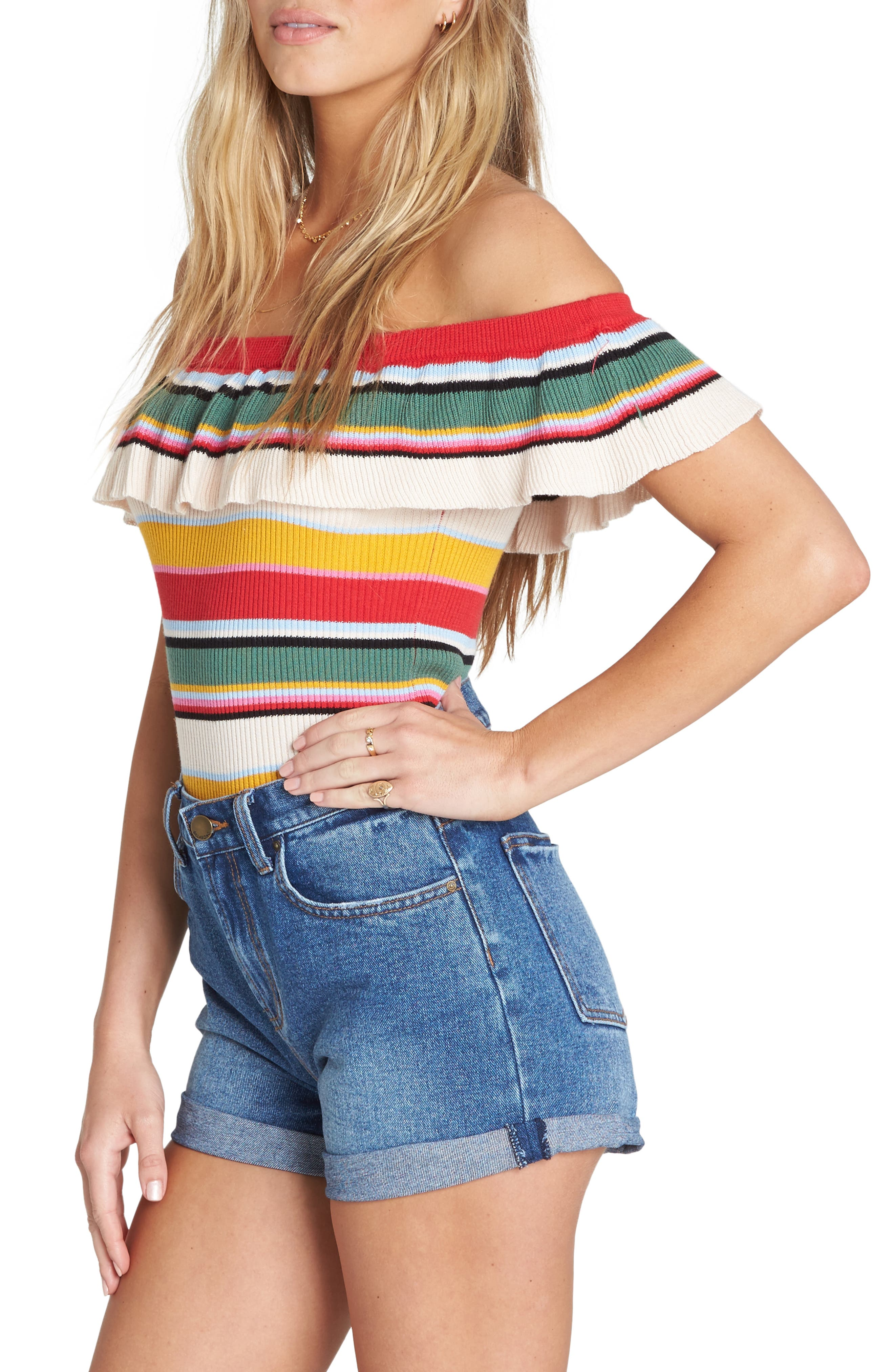 Take a Trip Off the Shoulder Top,                             Alternate thumbnail 3, color,                             MULTI