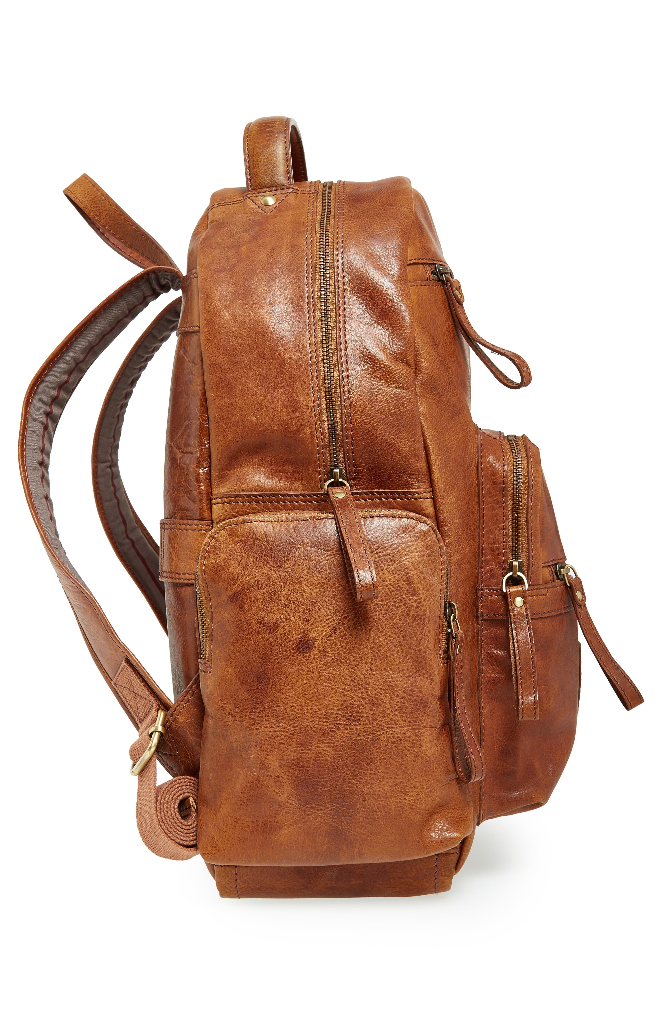 'Rugged' Leather Backpack,                             Alternate thumbnail 3, color,                             202