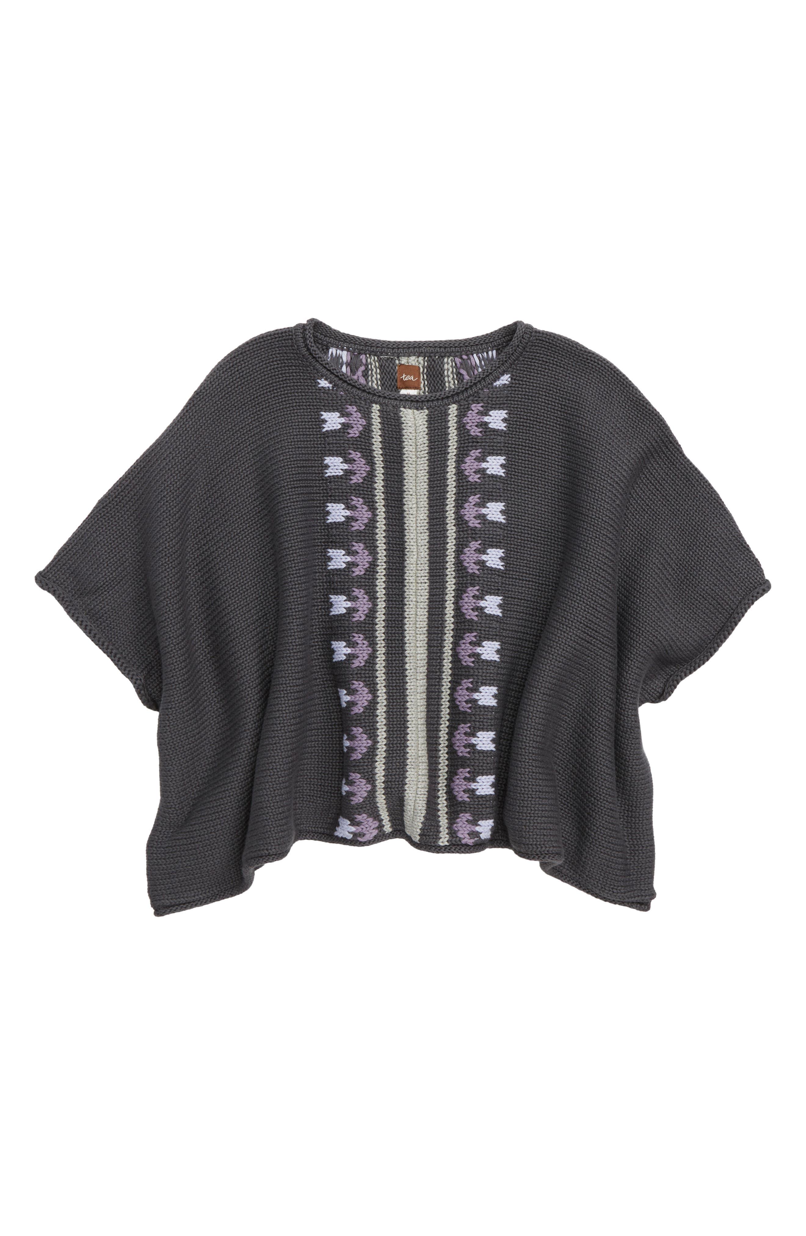 Floral Stripe Knit Poncho,                         Main,                         color, 023