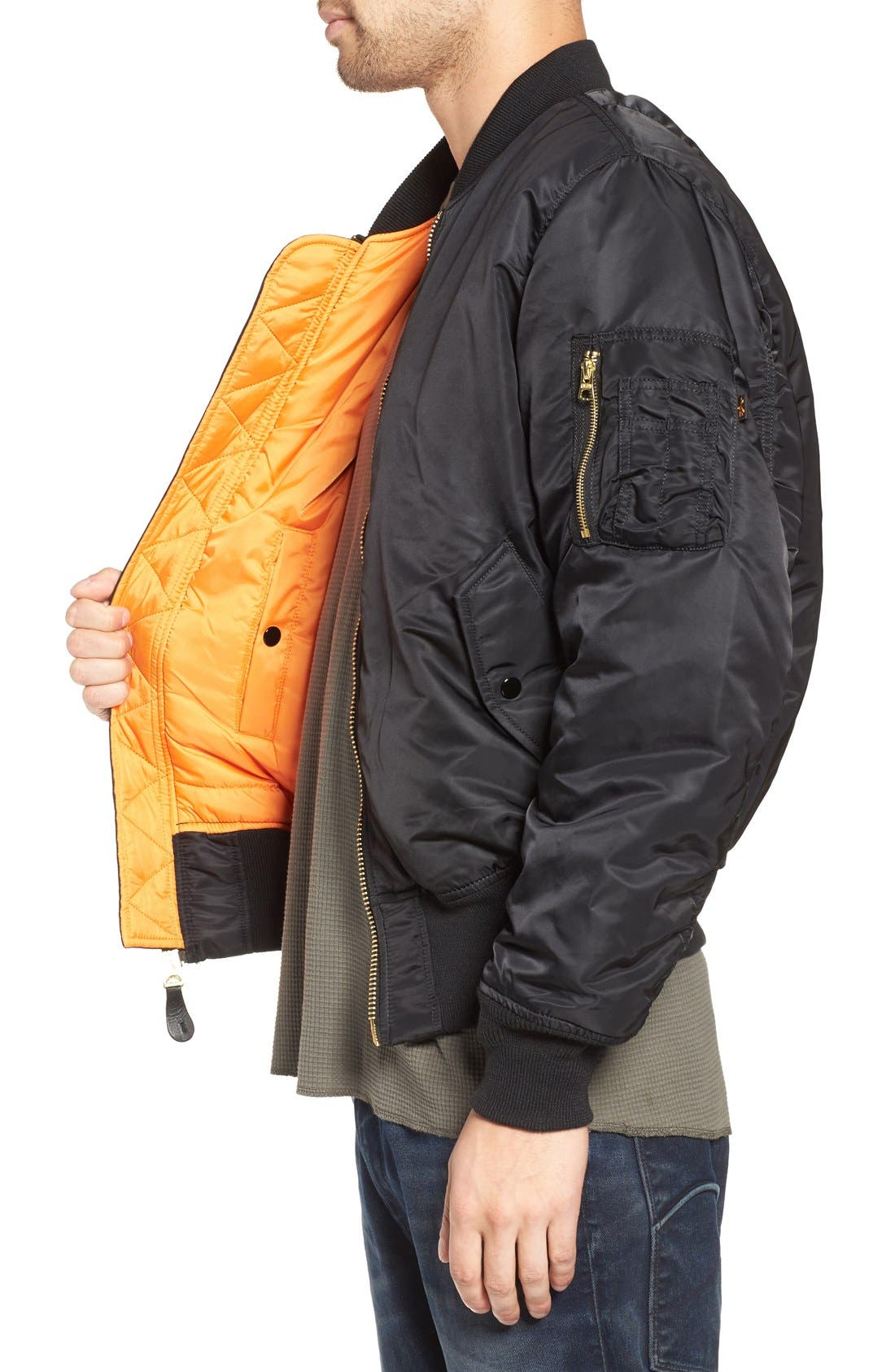 'MA-1' Slim Fit Bomber Jacket,                             Alternate thumbnail 4, color,                             BLACK