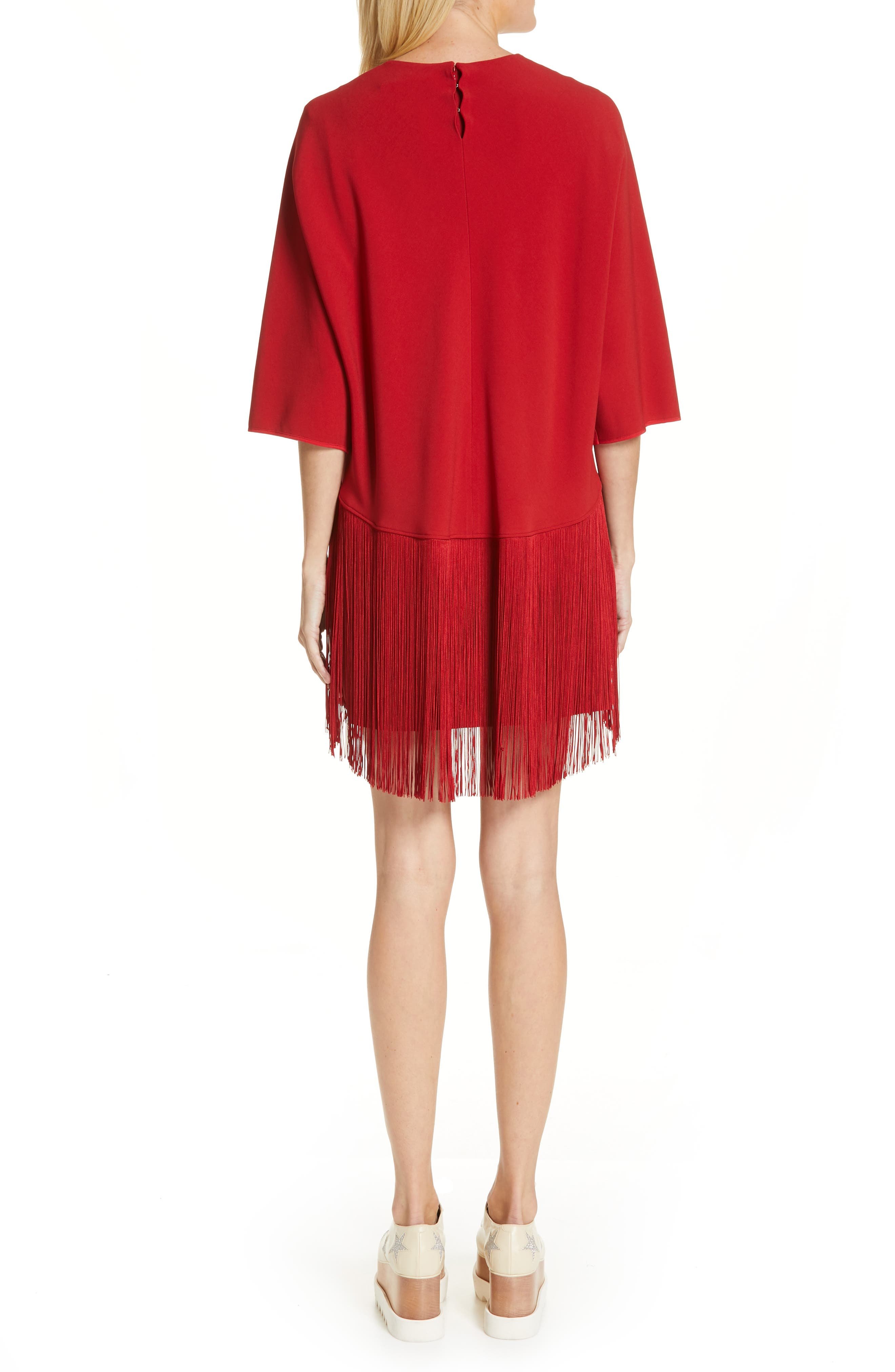 Fringe Overlay Stretch Cady Dress,                             Alternate thumbnail 2, color,                             RED ROMANCE