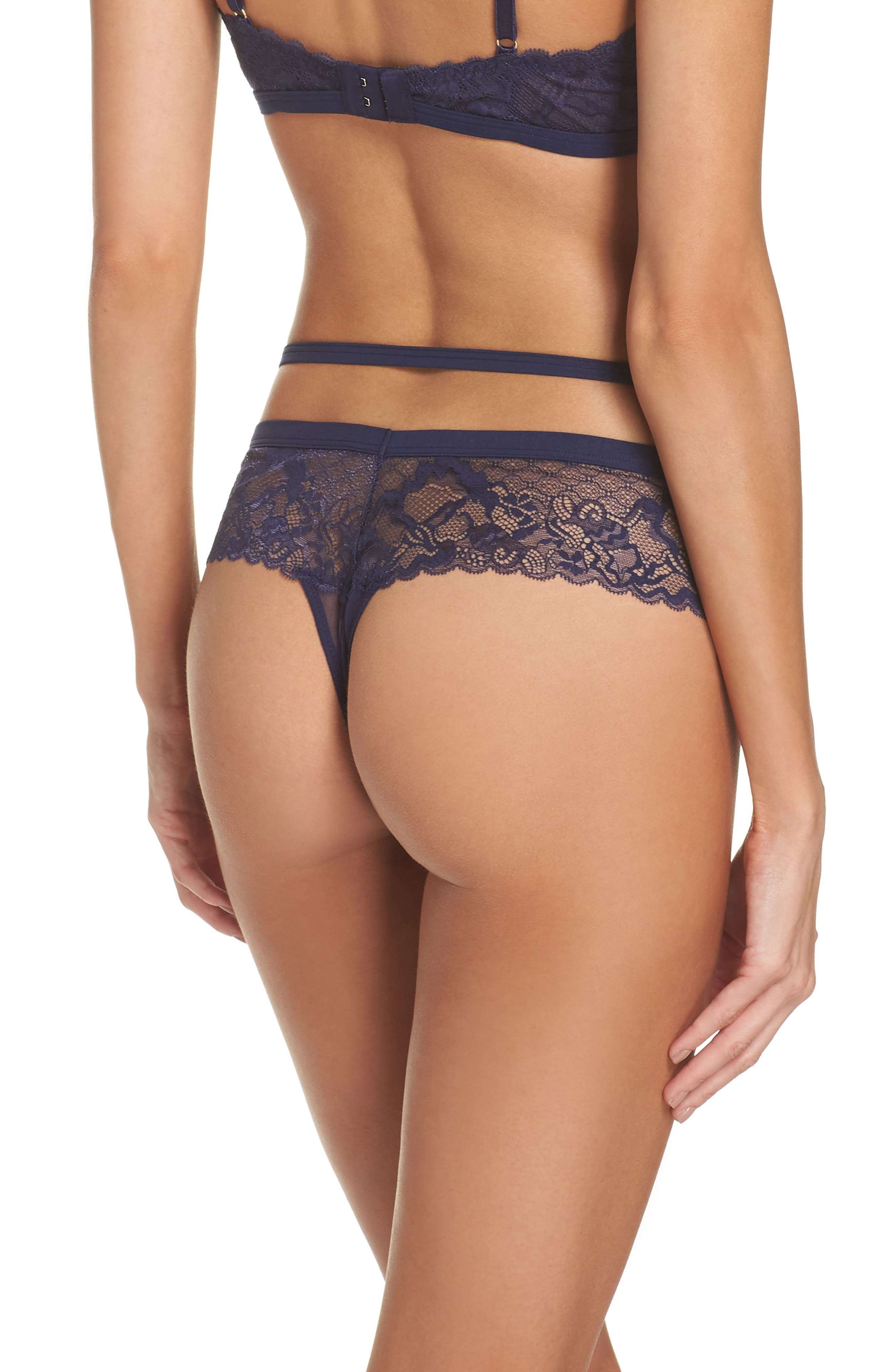 Addiction Nouvelle Rock Candy Tanga Thong,                             Alternate thumbnail 2, color,                             NAVY