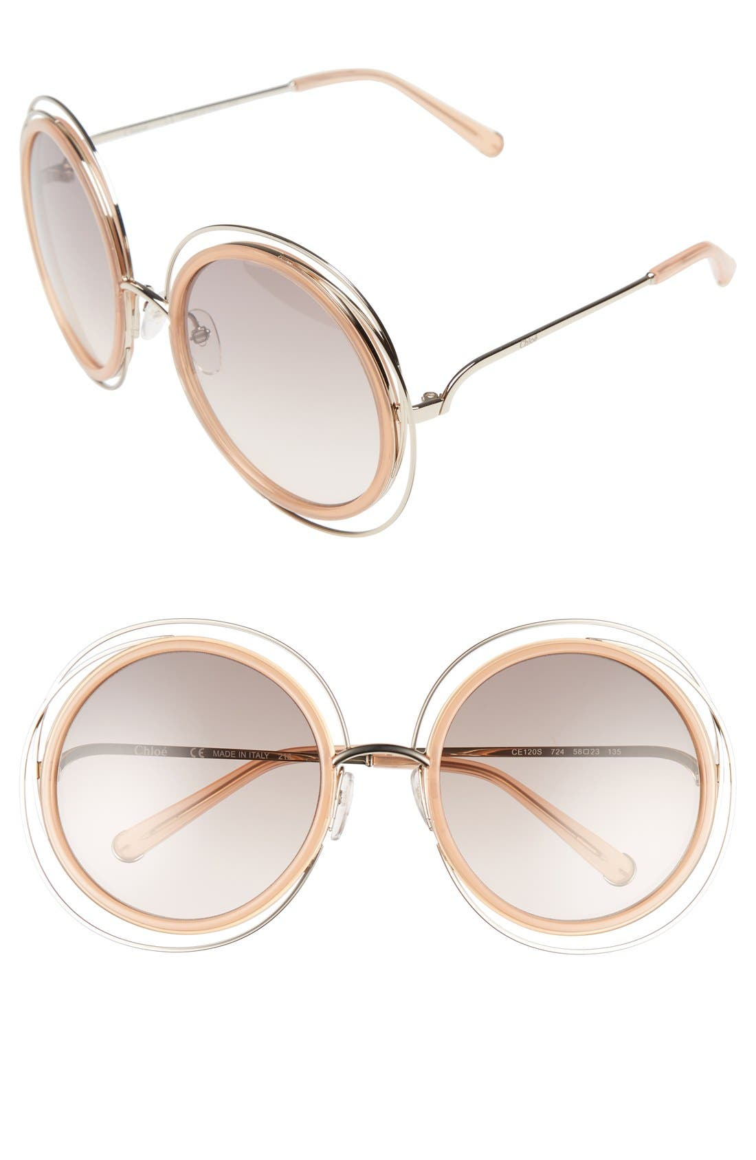 'Carlina' 58mm Round Sunglasses,                             Main thumbnail 1, color,                             GOLD/ TRANSPARENT PEACH