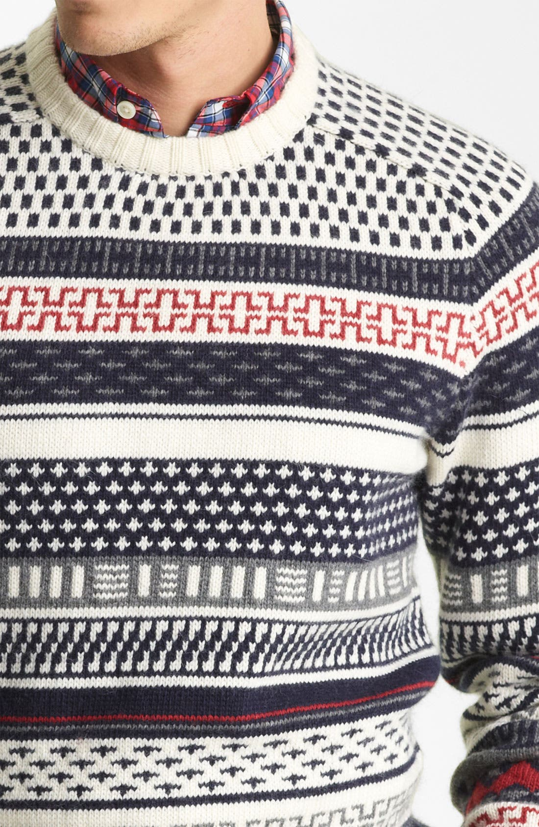 JACK SPADE,                             'Stone' Fair Isle Crewneck Sweater,                             Alternate thumbnail 3, color,                             142