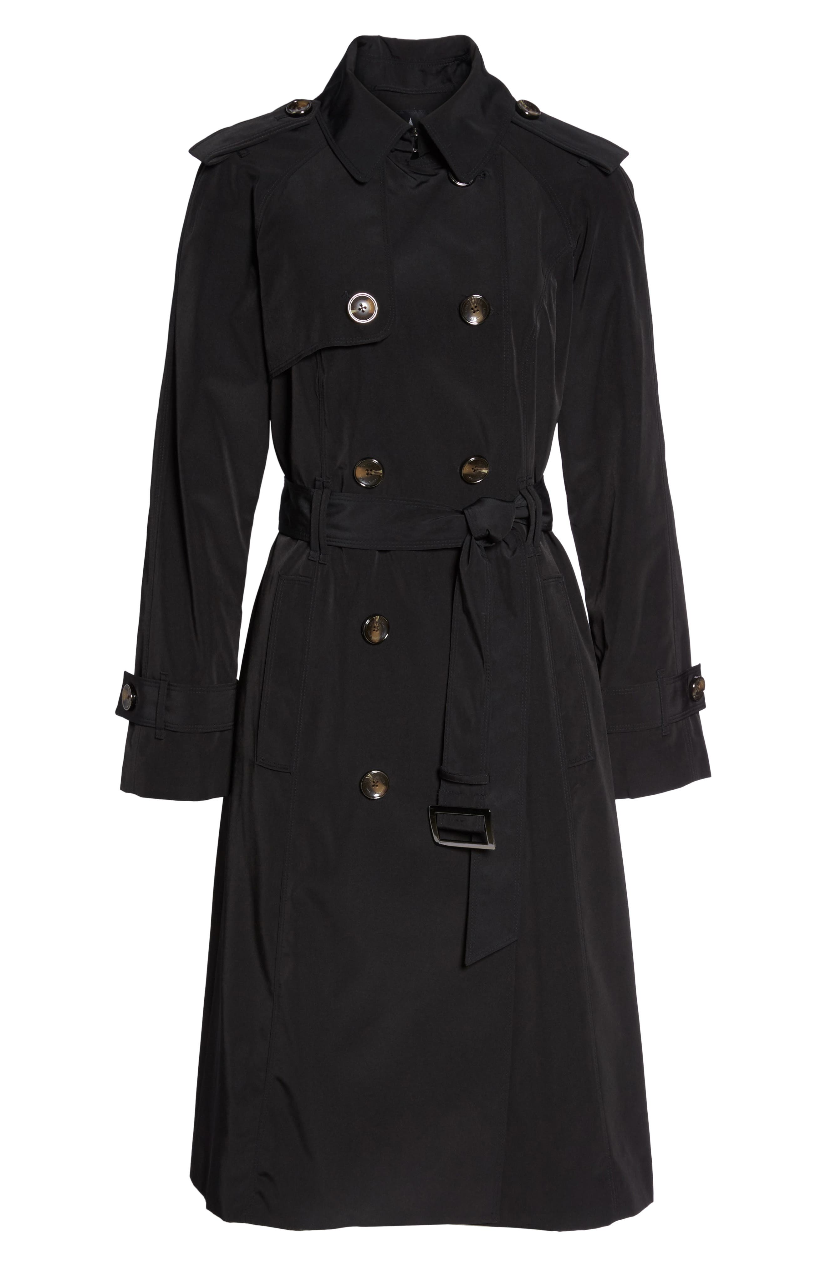 Long Double Breasted Trench Coat,                             Alternate thumbnail 6, color,                             BLACK
