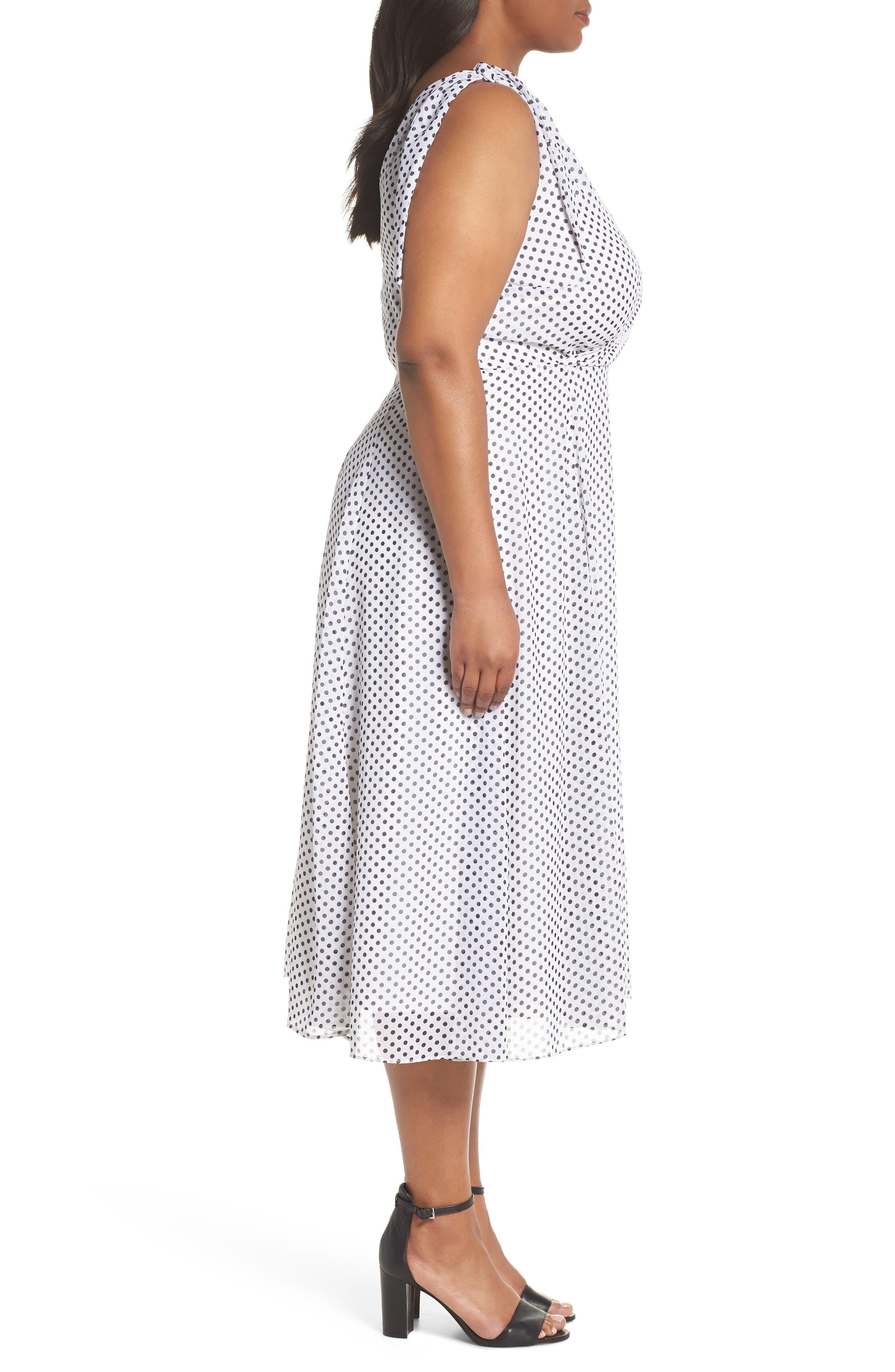 Alika Dot Fit & Flare Dress,                             Alternate thumbnail 3, color,                             IVORY