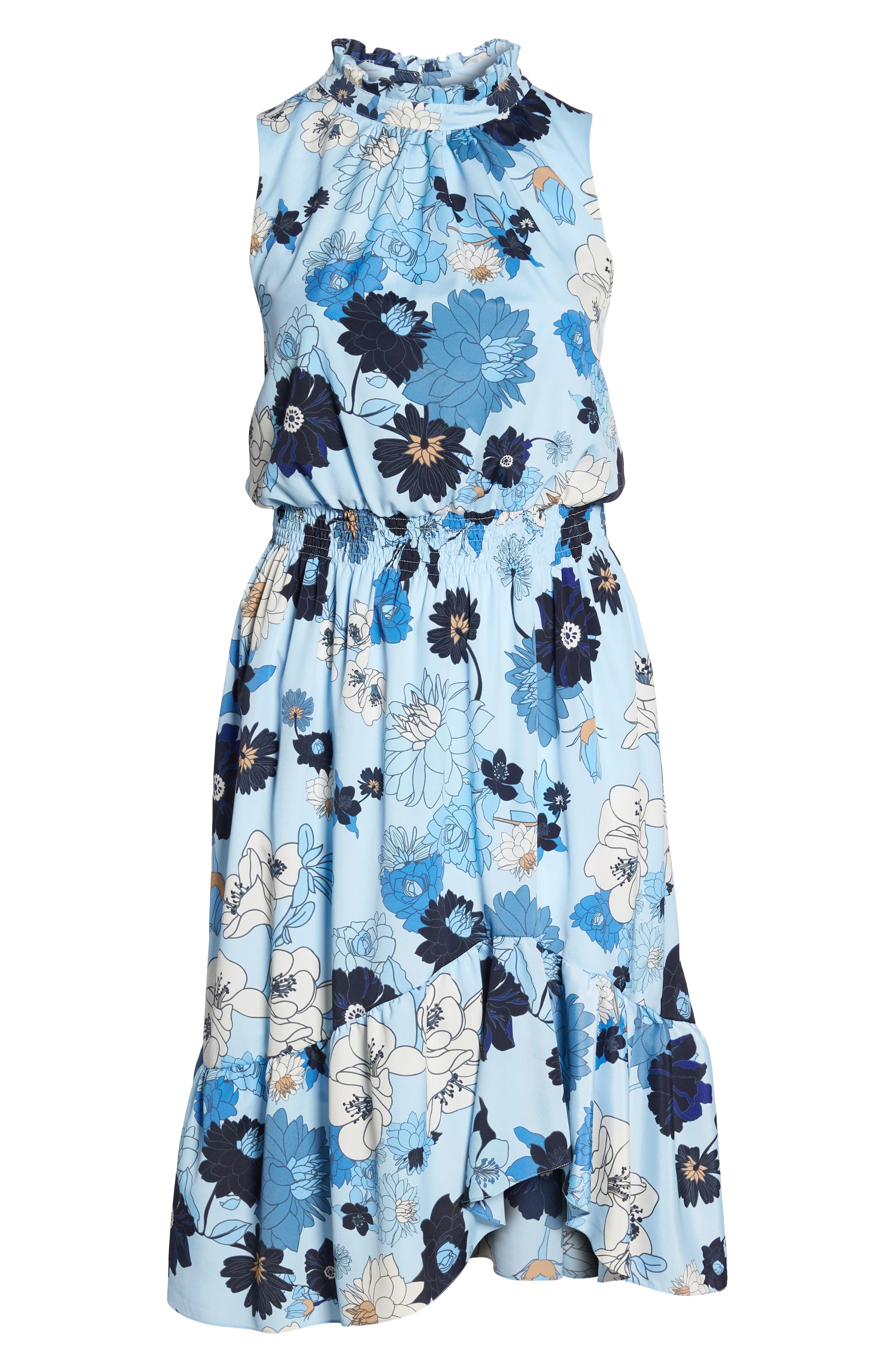 Floral Ruffle Neck Blouson Midi Dress,                             Alternate thumbnail 6, color,                             452