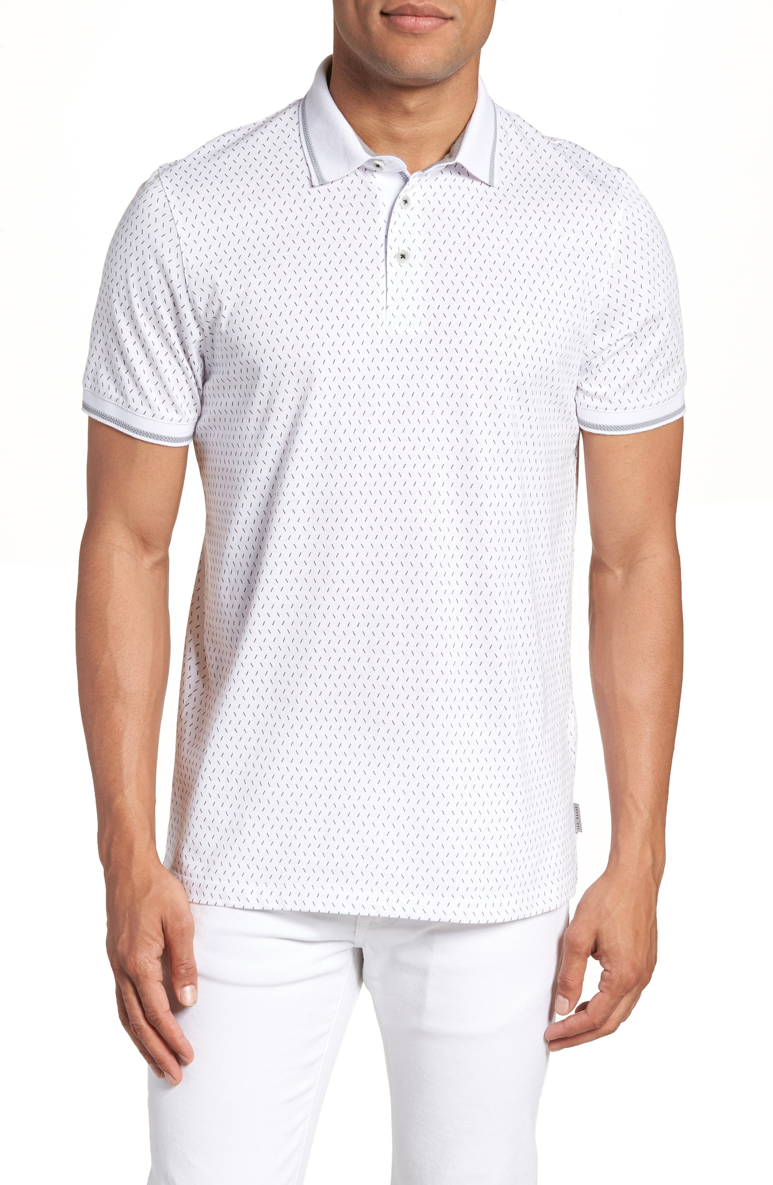 Abot Trim Fit Print Polo,                         Main,                         color, WHITE
