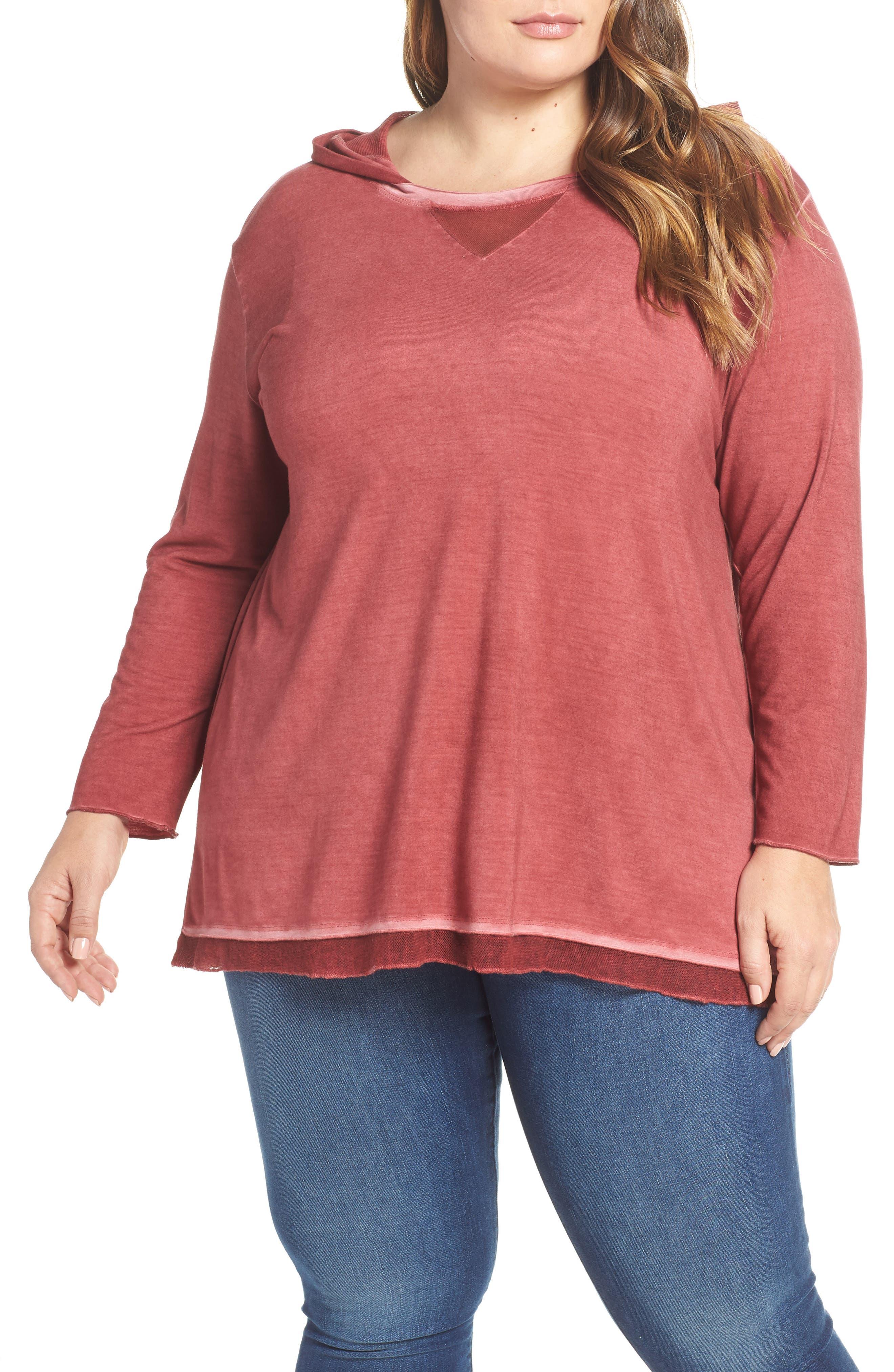 Plus Size Dantelle Oil Dye Knit Hooded Top, Red