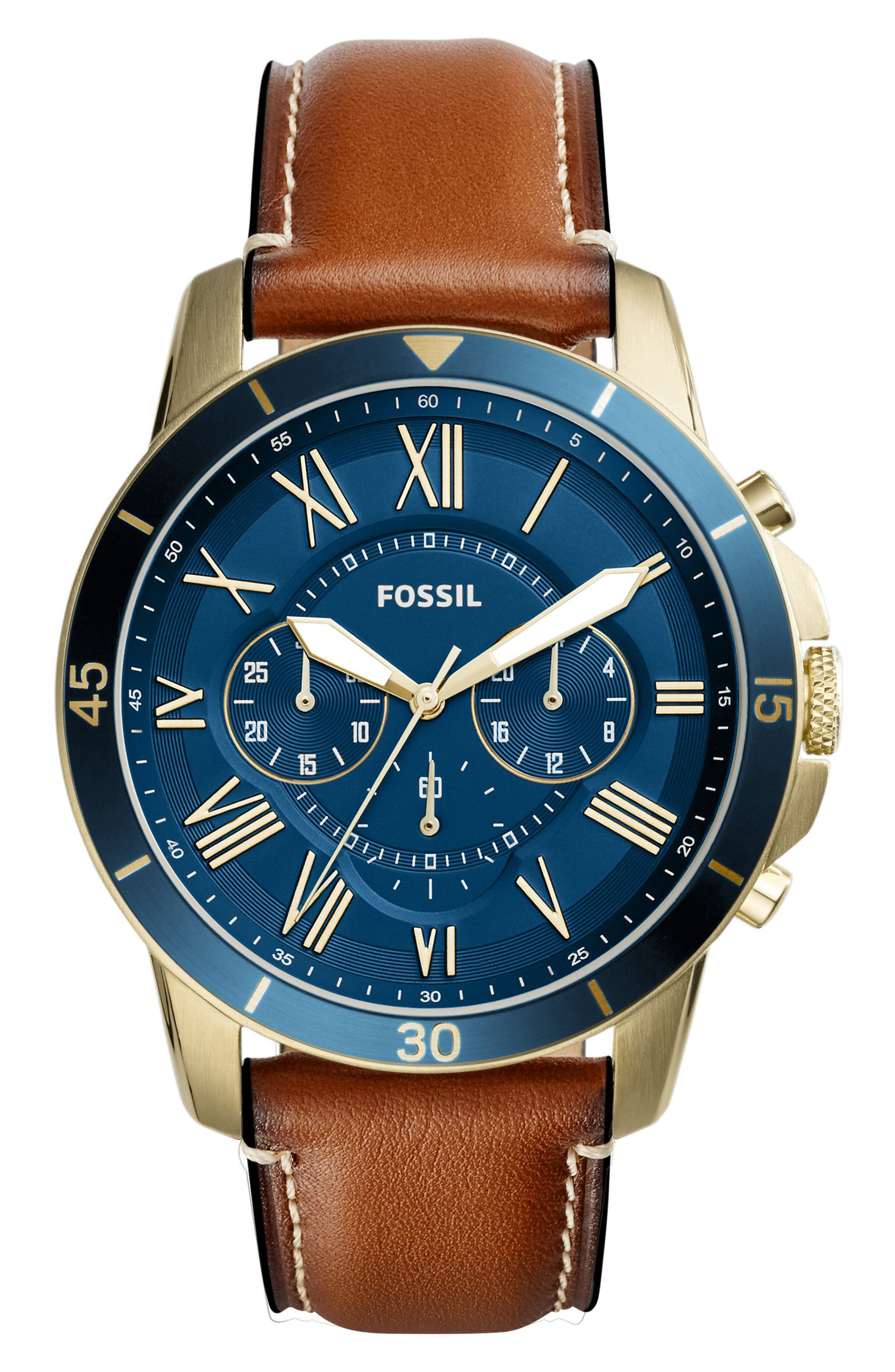 Grant Chronograph Leather Strap Watch, 44mm,                             Main thumbnail 2, color,