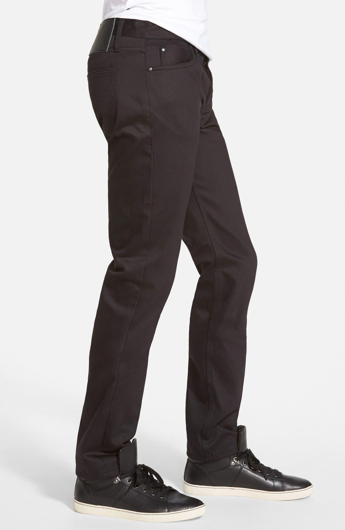 'UB155' Skinny Fit Raw Selvedge Jeans,                             Alternate thumbnail 5, color,                             001