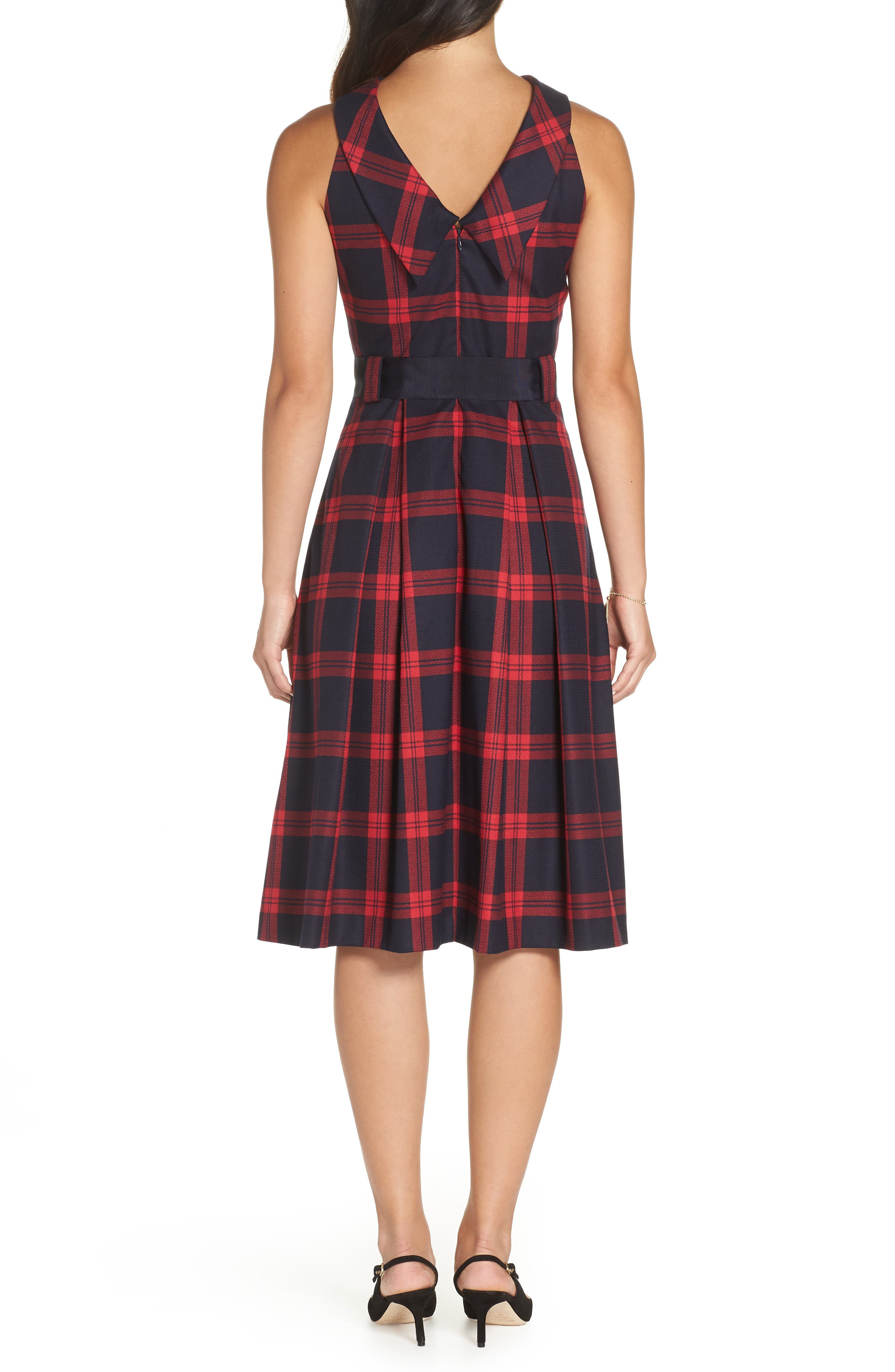Jacquard Fit & Flare Dress,                             Alternate thumbnail 2, color,                             RED- NAVY PLAID