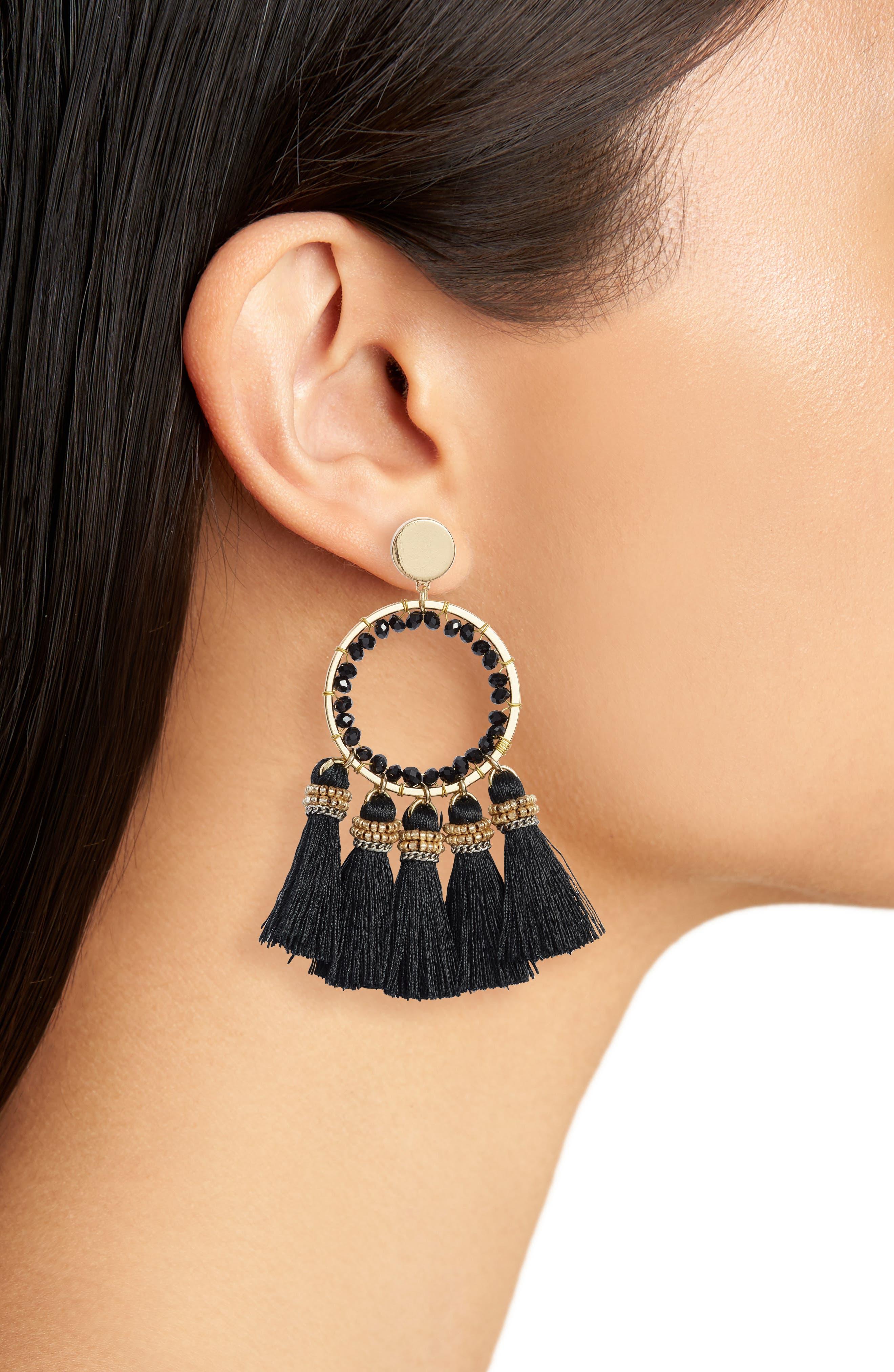 Tassel Hoop Earrings,                             Alternate thumbnail 2, color,                             001