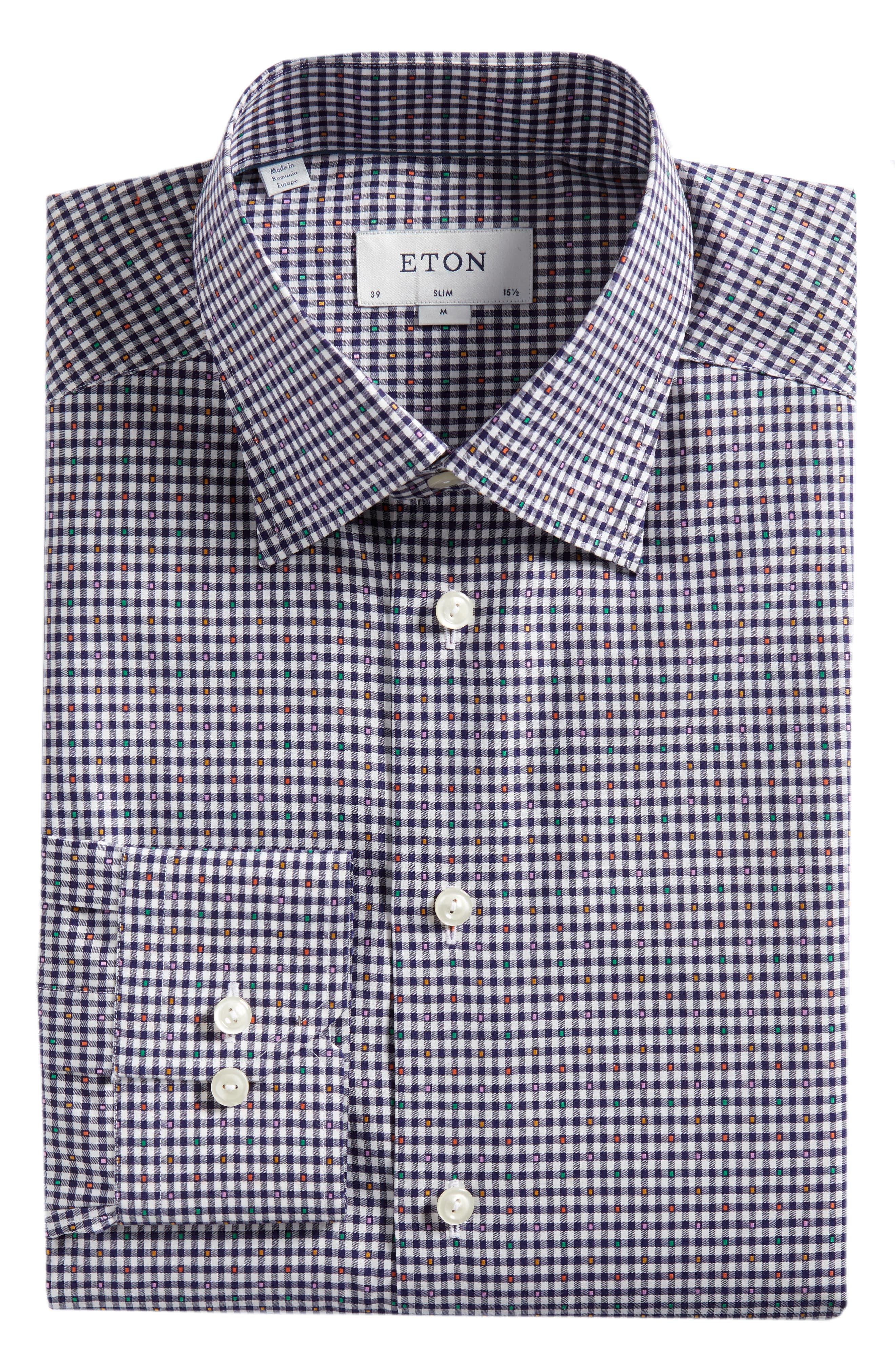 Slim Fit Check Dress Shirt,                             Alternate thumbnail 5, color,                             BLUE
