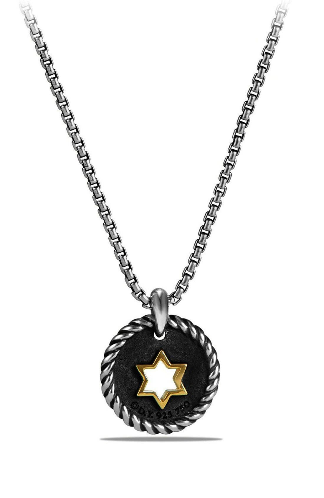 'Pettie Pavé' Star of David Pendant Necklace,                             Alternate thumbnail 3, color,                             SILVER