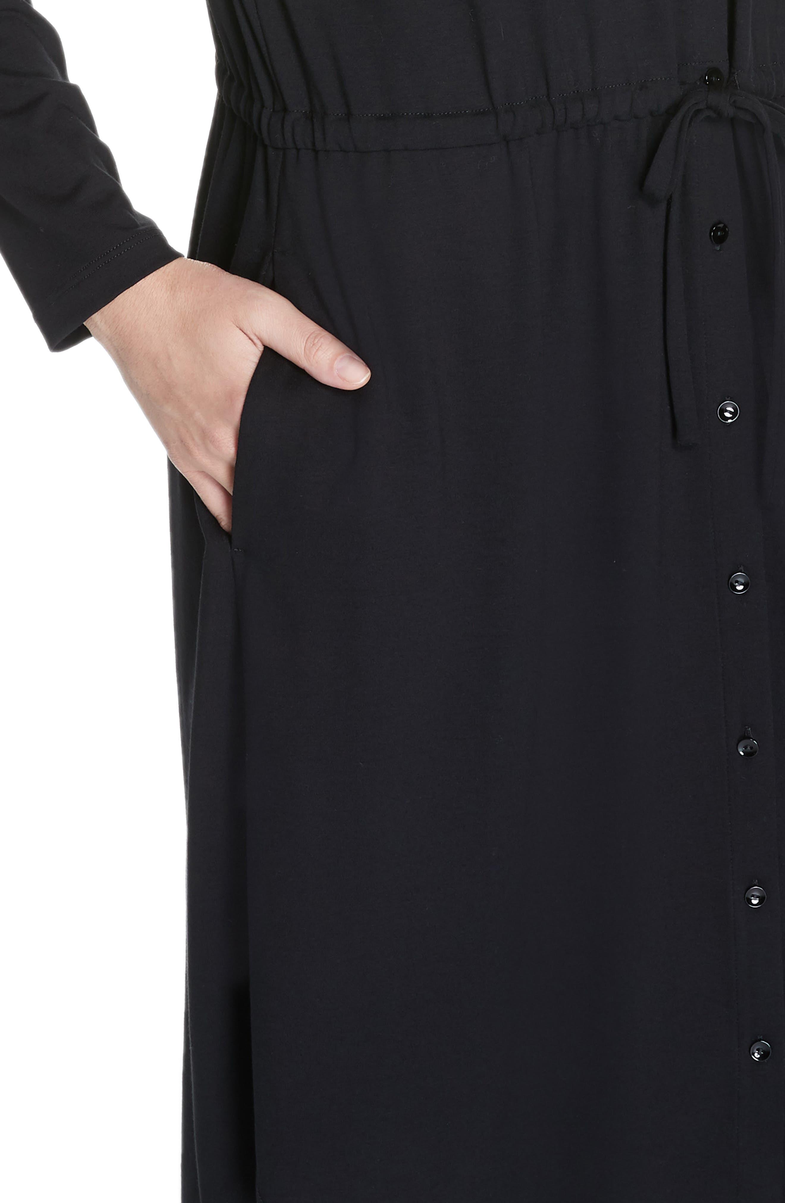 Drawstring Waist Dress,                             Alternate thumbnail 5, color,                             BLACK