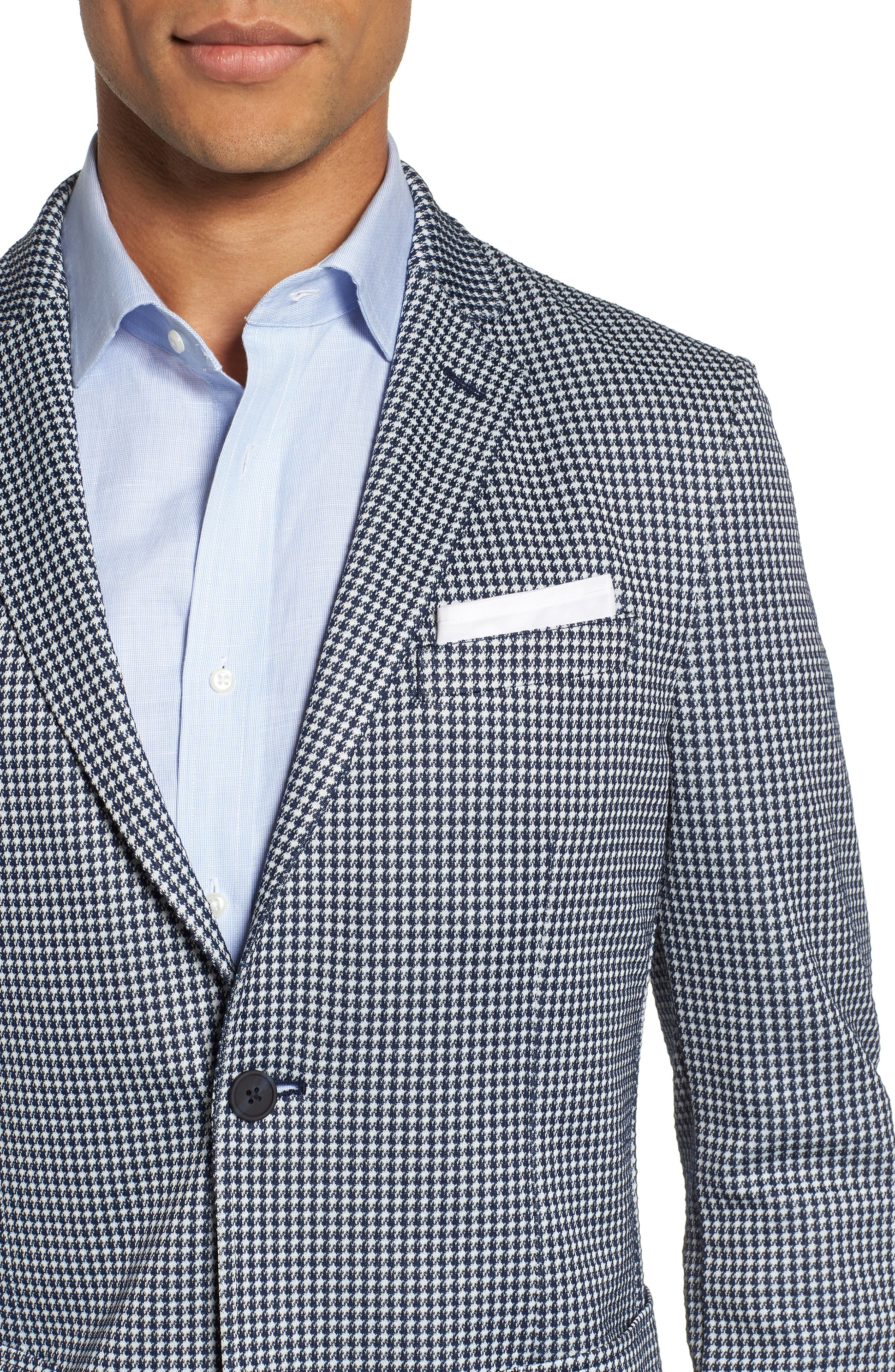 Slim Fit Stretch Houndstooth Sport Coat,                             Alternate thumbnail 4, color,                             410