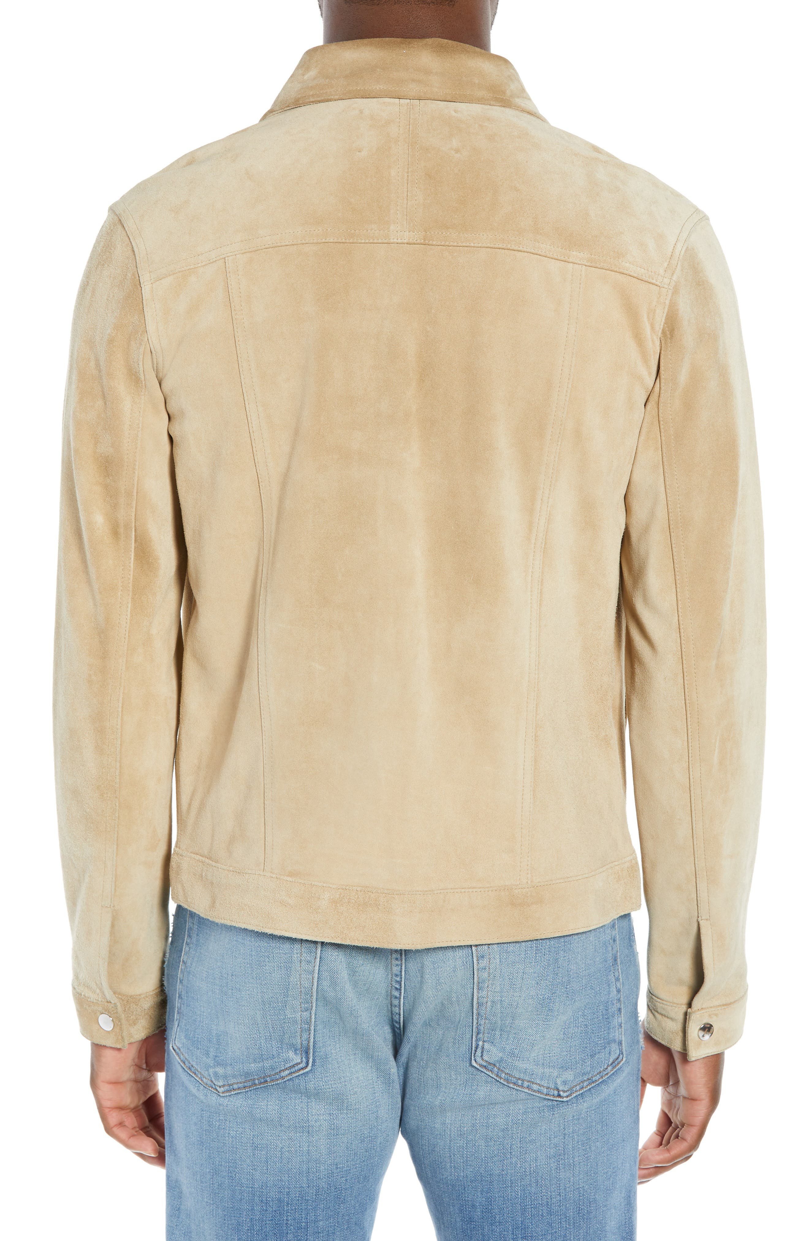 Slim Fit Leather Western Jacket,                             Alternate thumbnail 2, color,                             KHAKI