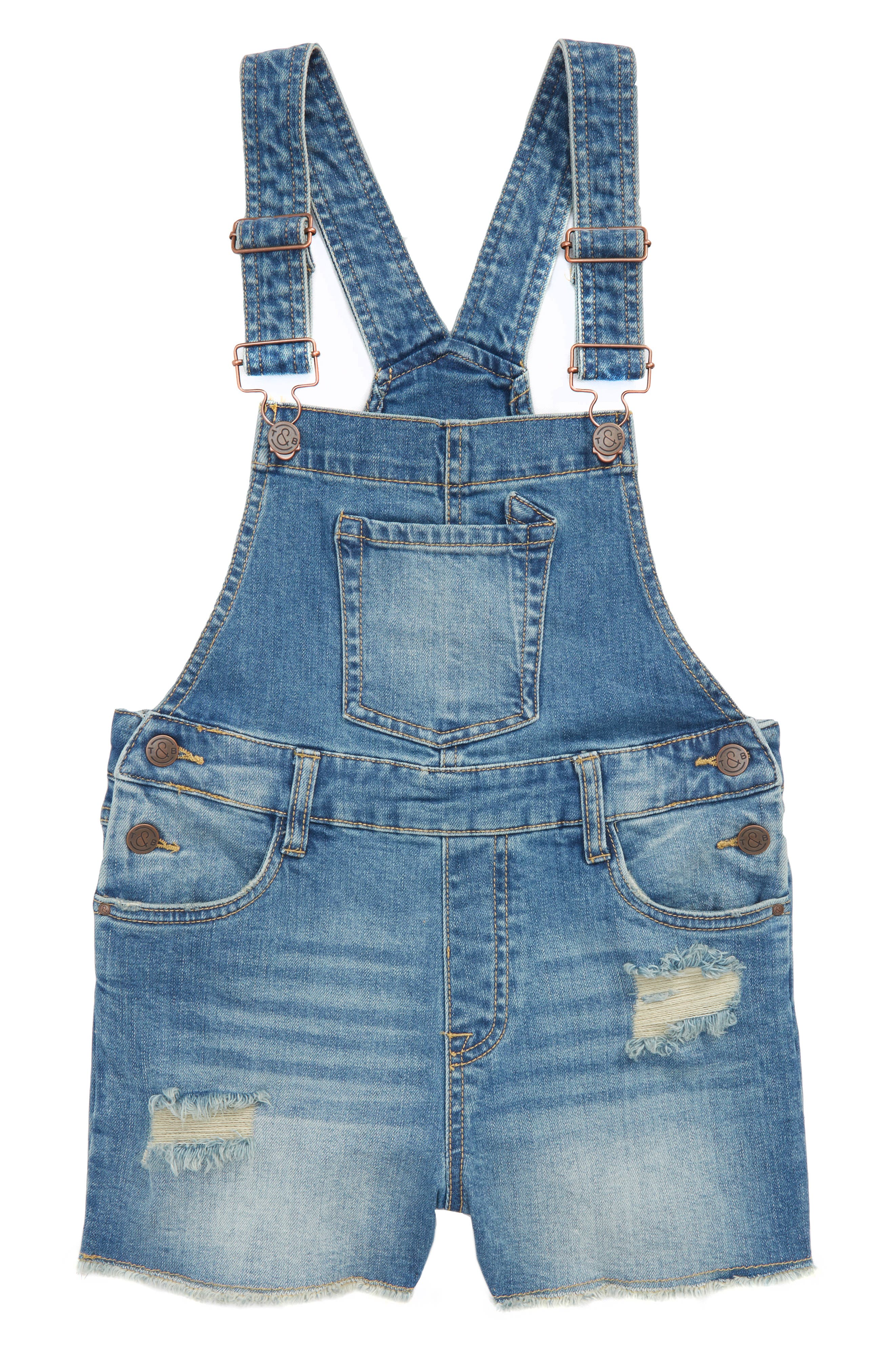 Distressed Denim Overall Shorts,                             Main thumbnail 1, color,                             420