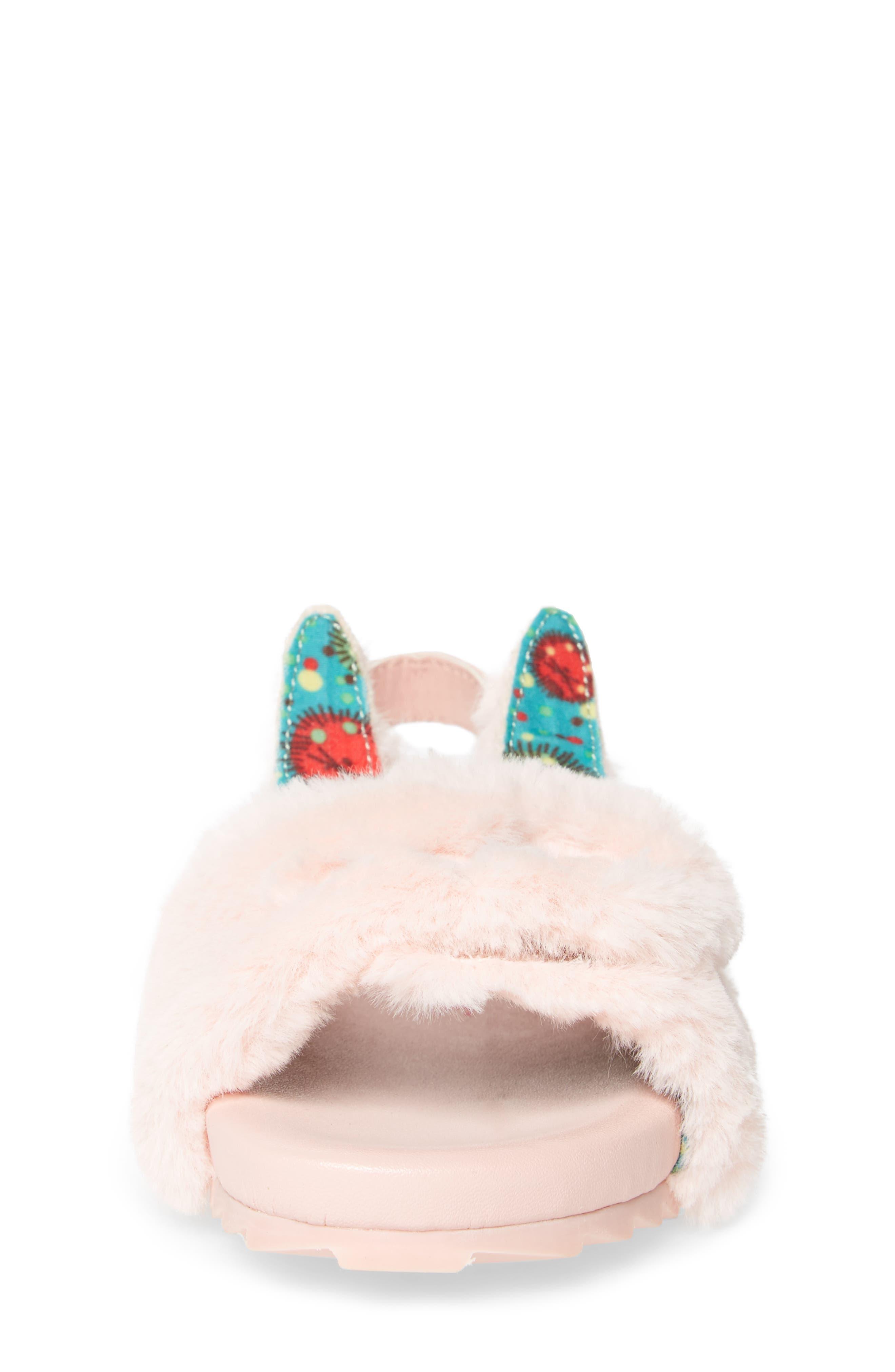 Willa Carrot Faux Fur Strap Slide Sandal,                             Alternate thumbnail 4, color,                             697