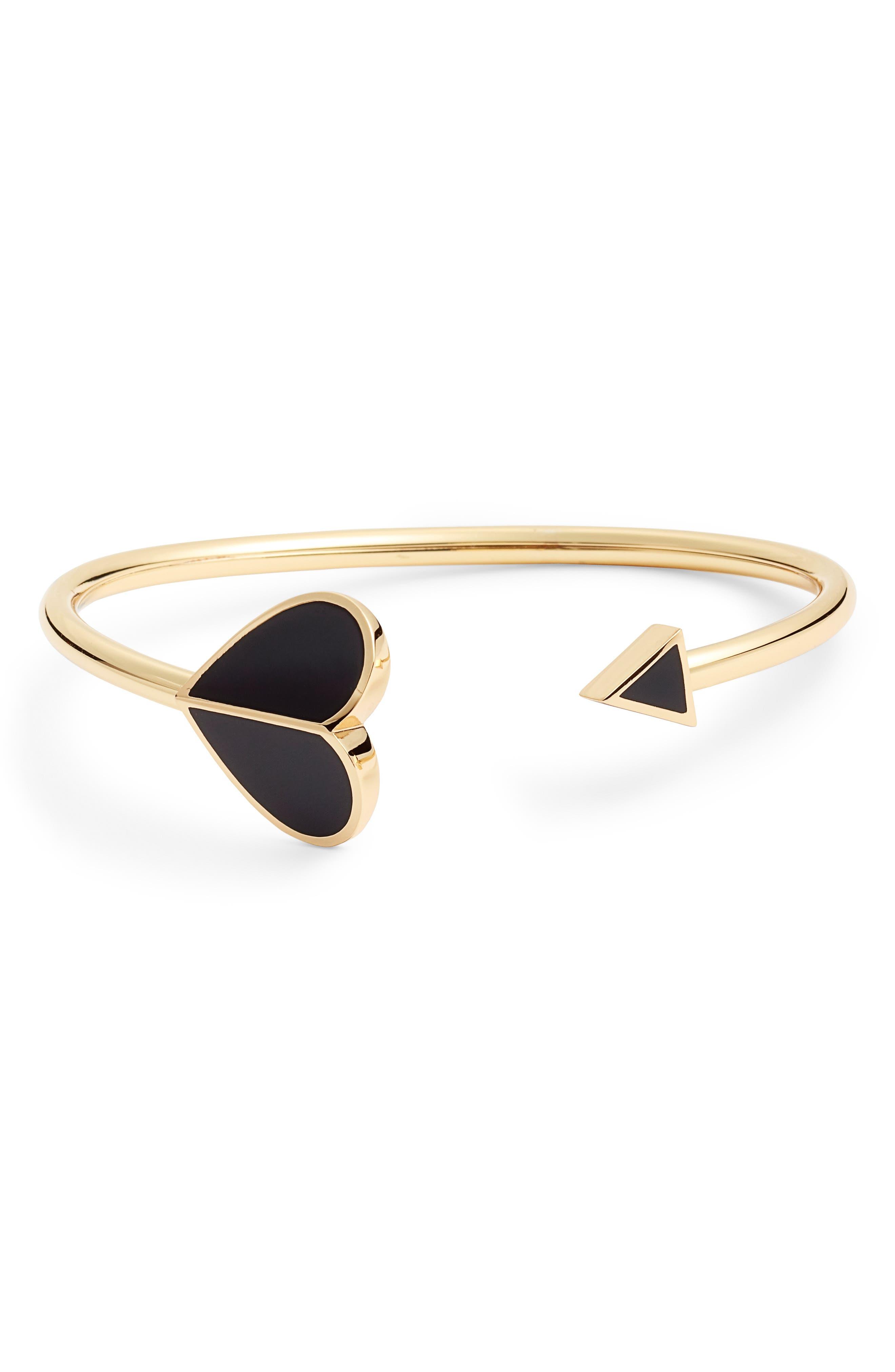 spade cuff bracelet,                             Main thumbnail 1, color,                             BLACK