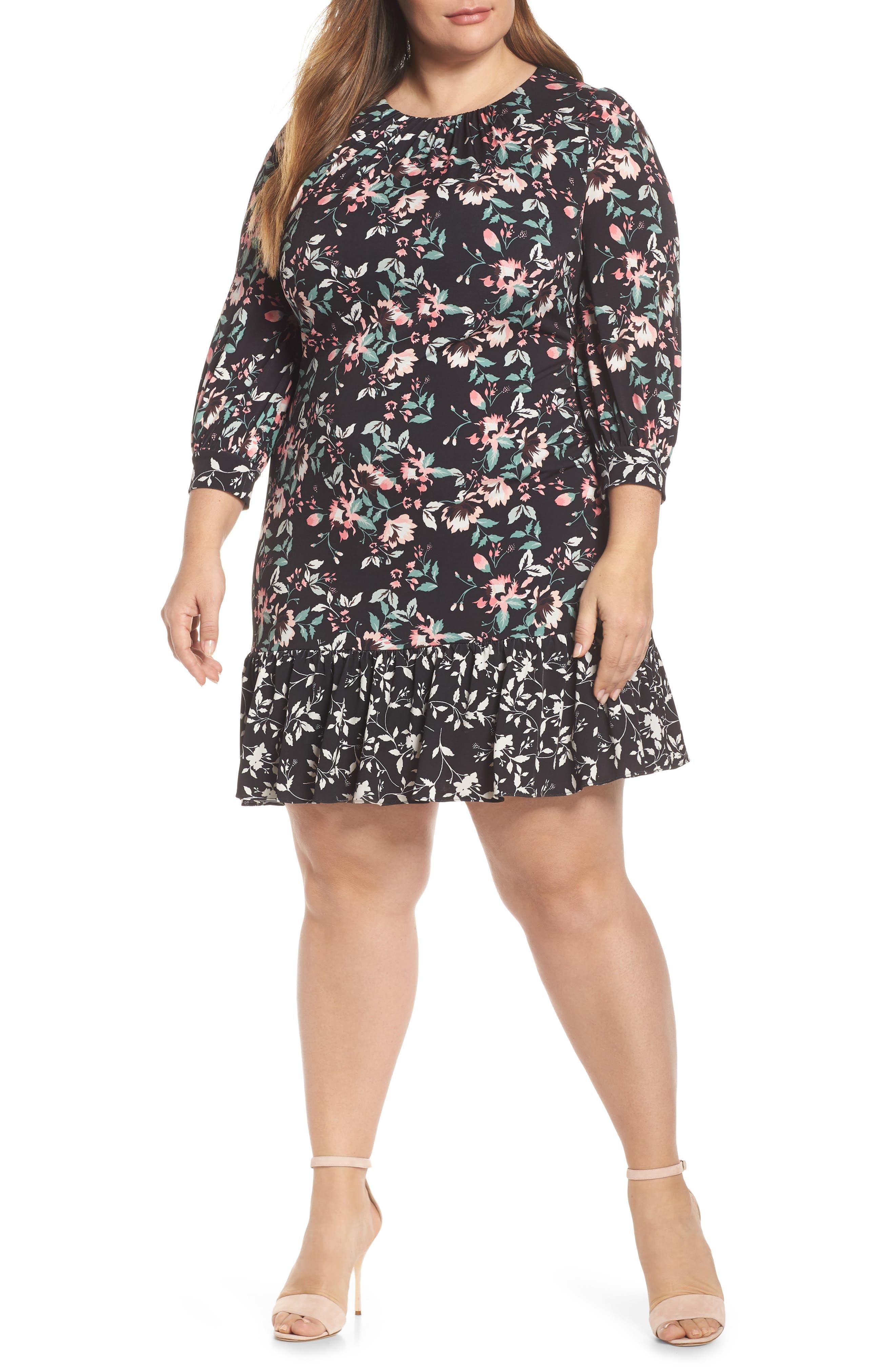 Plus Size Eliza J Contrast Trim Floral Shift Dress, Black