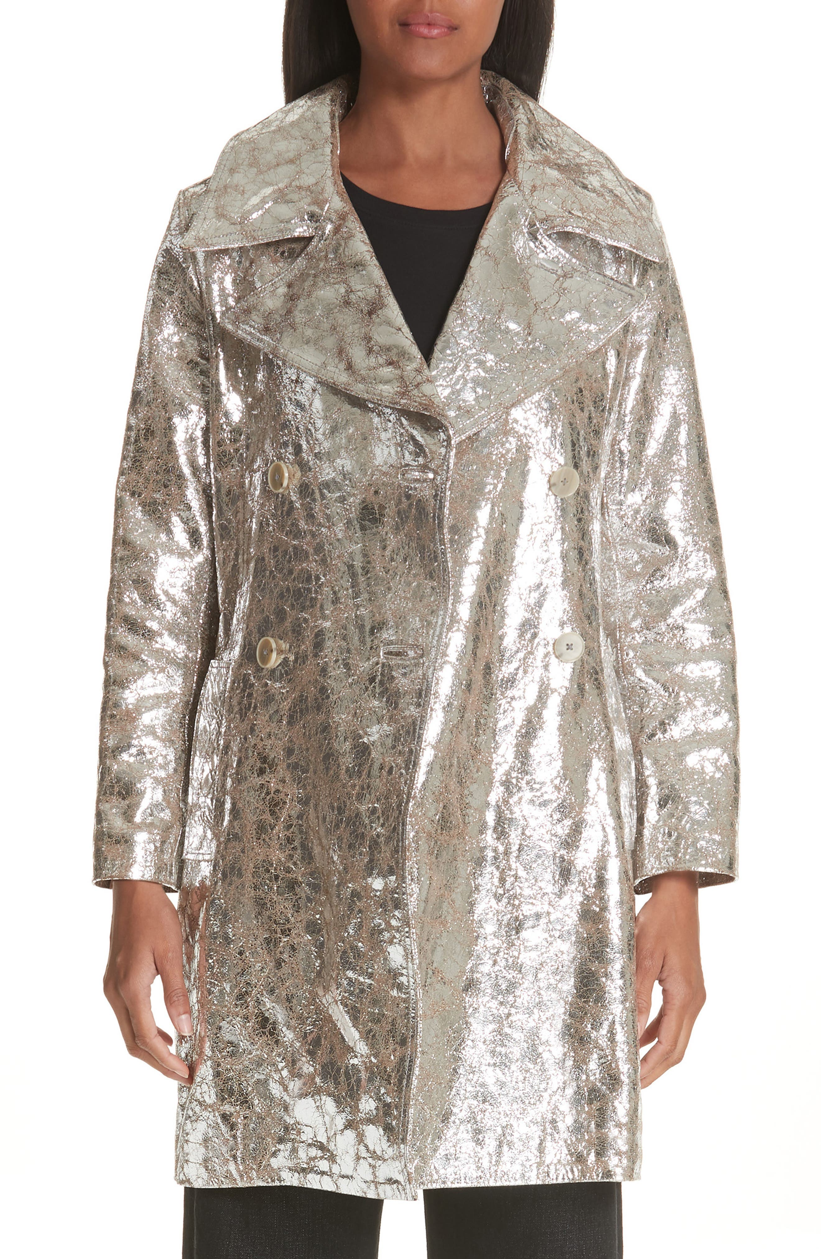 Double Breasted Metallic Lambskin Coat,                             Main thumbnail 1, color,                             040