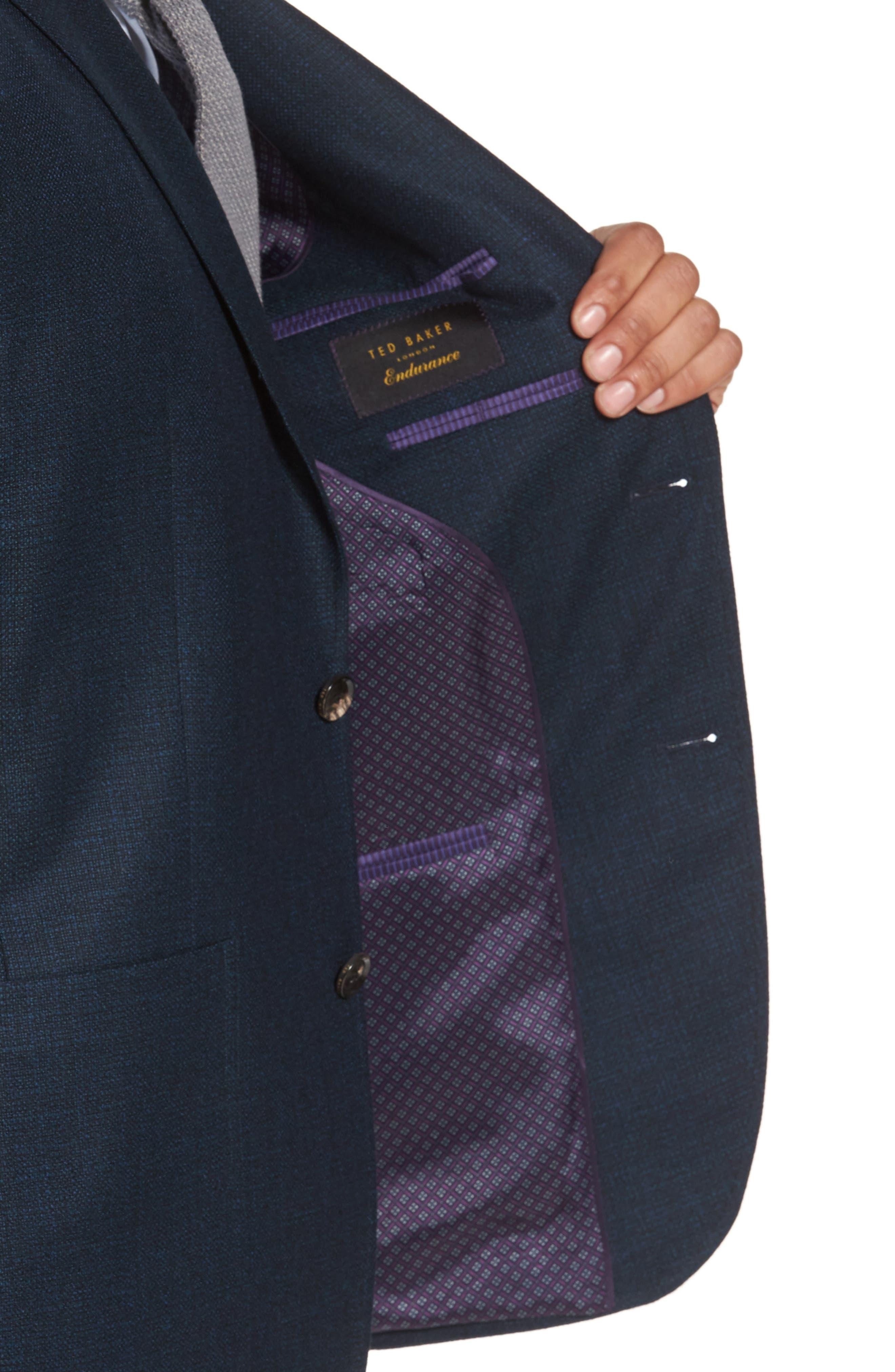 Kyle Trim Fit Check Wool Sport Coat,                             Alternate thumbnail 4, color,                             475