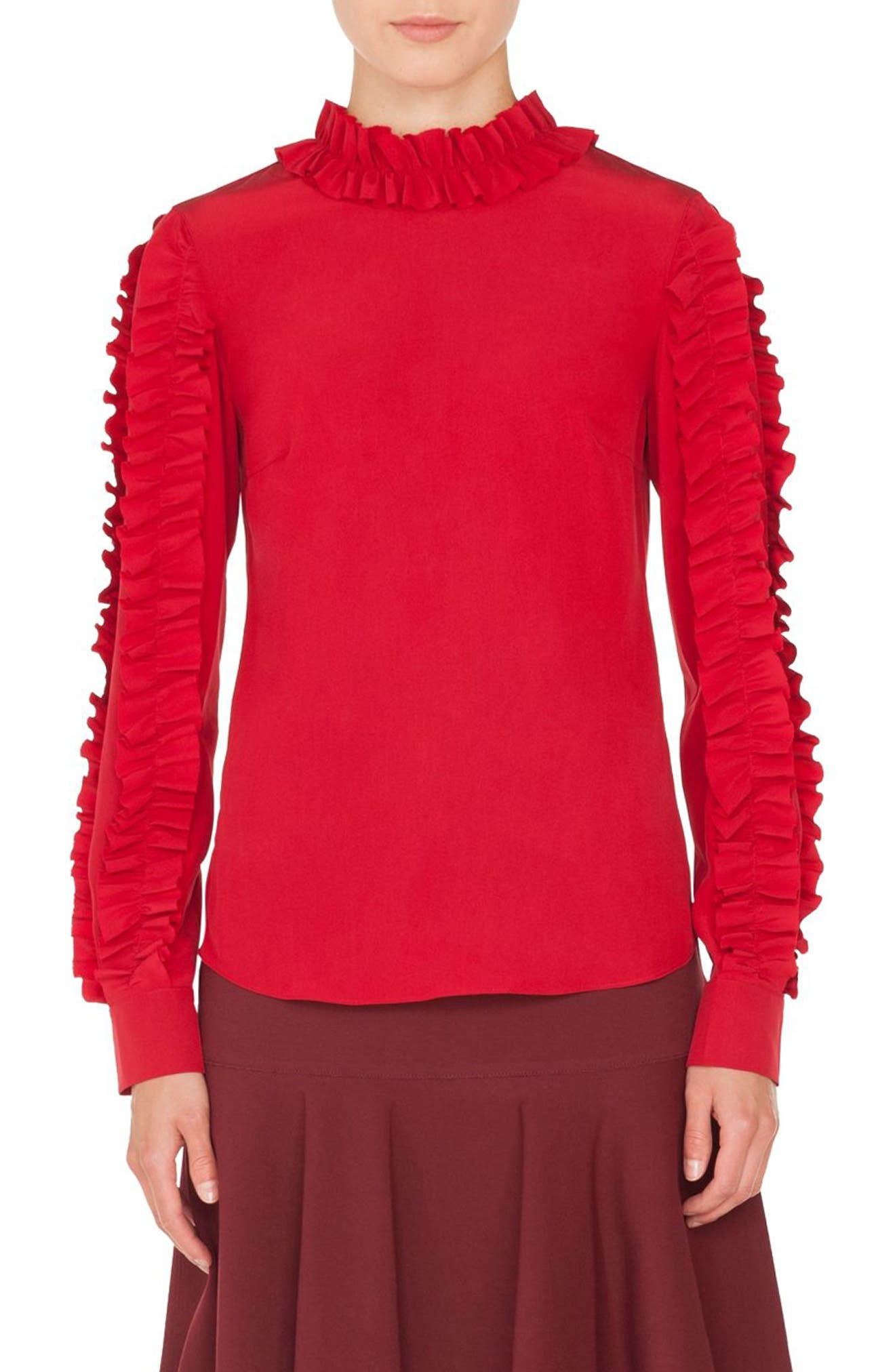 Ruched Silk Blouse,                         Main,                         color, 600