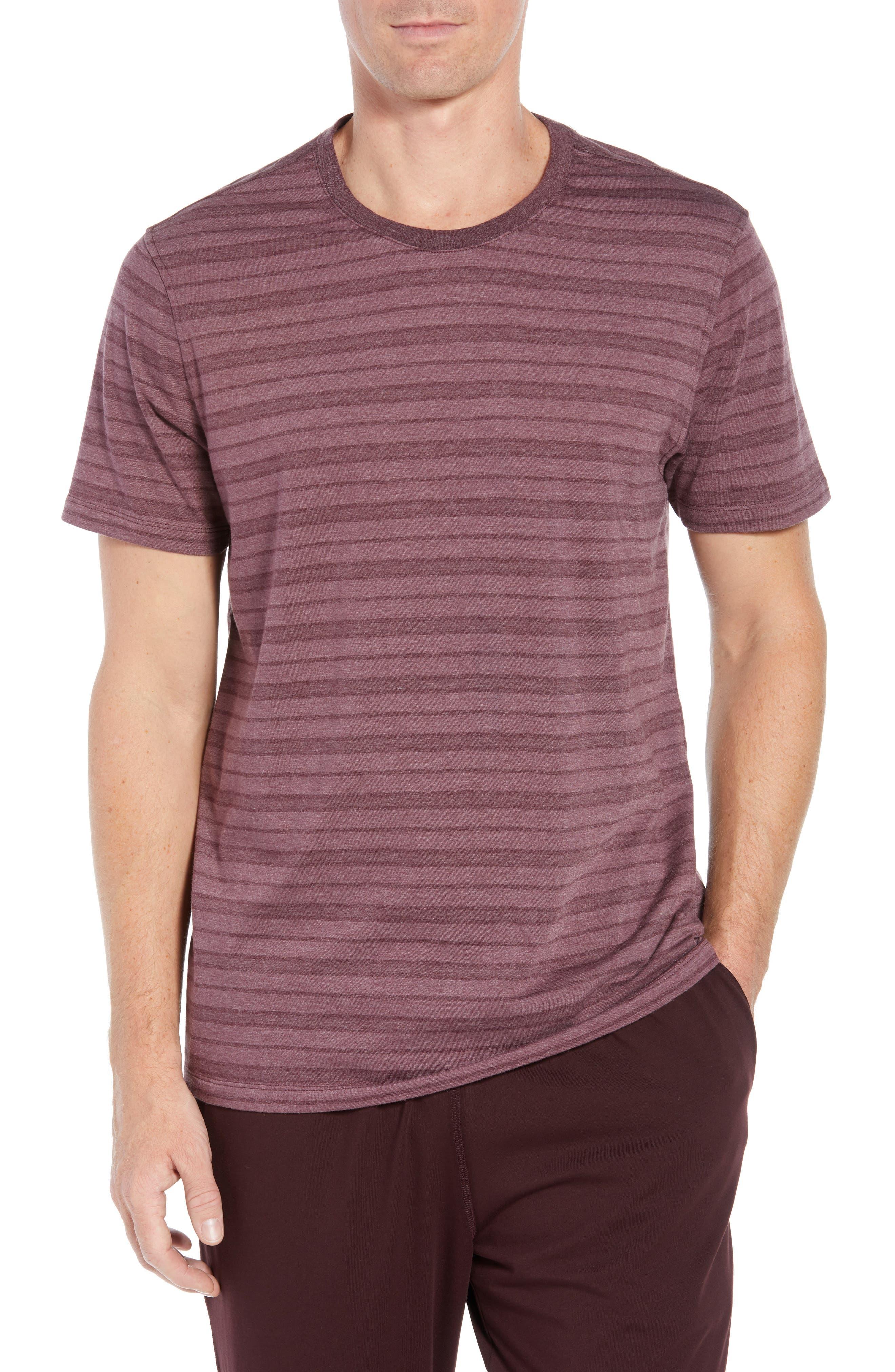 Stripe Cotton Blend Crewneck T-Shirt,                             Main thumbnail 1, color,                             WINE