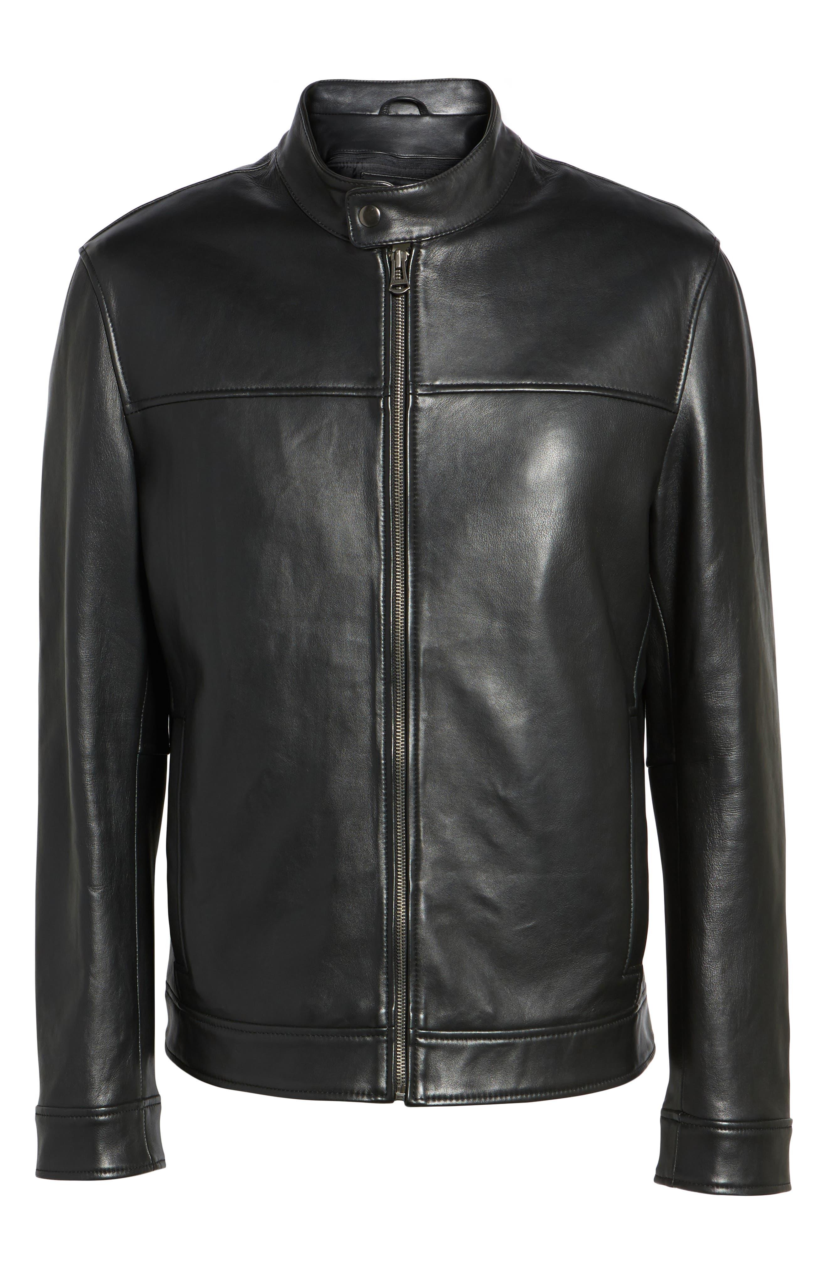 Bonded Leather Moto Jacket,                             Alternate thumbnail 5, color,                             BLACK