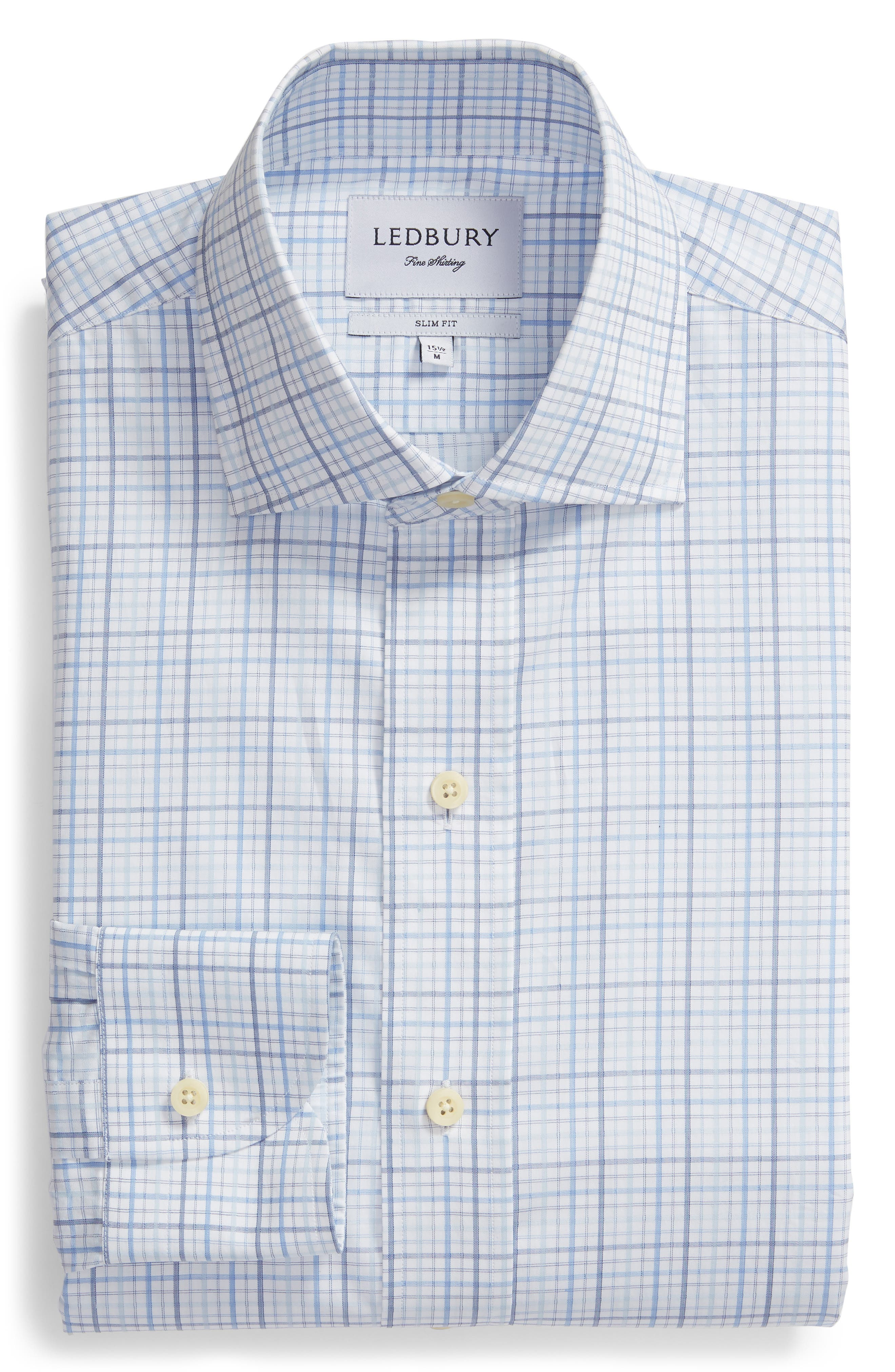 Drazin Trim Fit Check Dress Shirt,                             Alternate thumbnail 5, color,                             BLUE