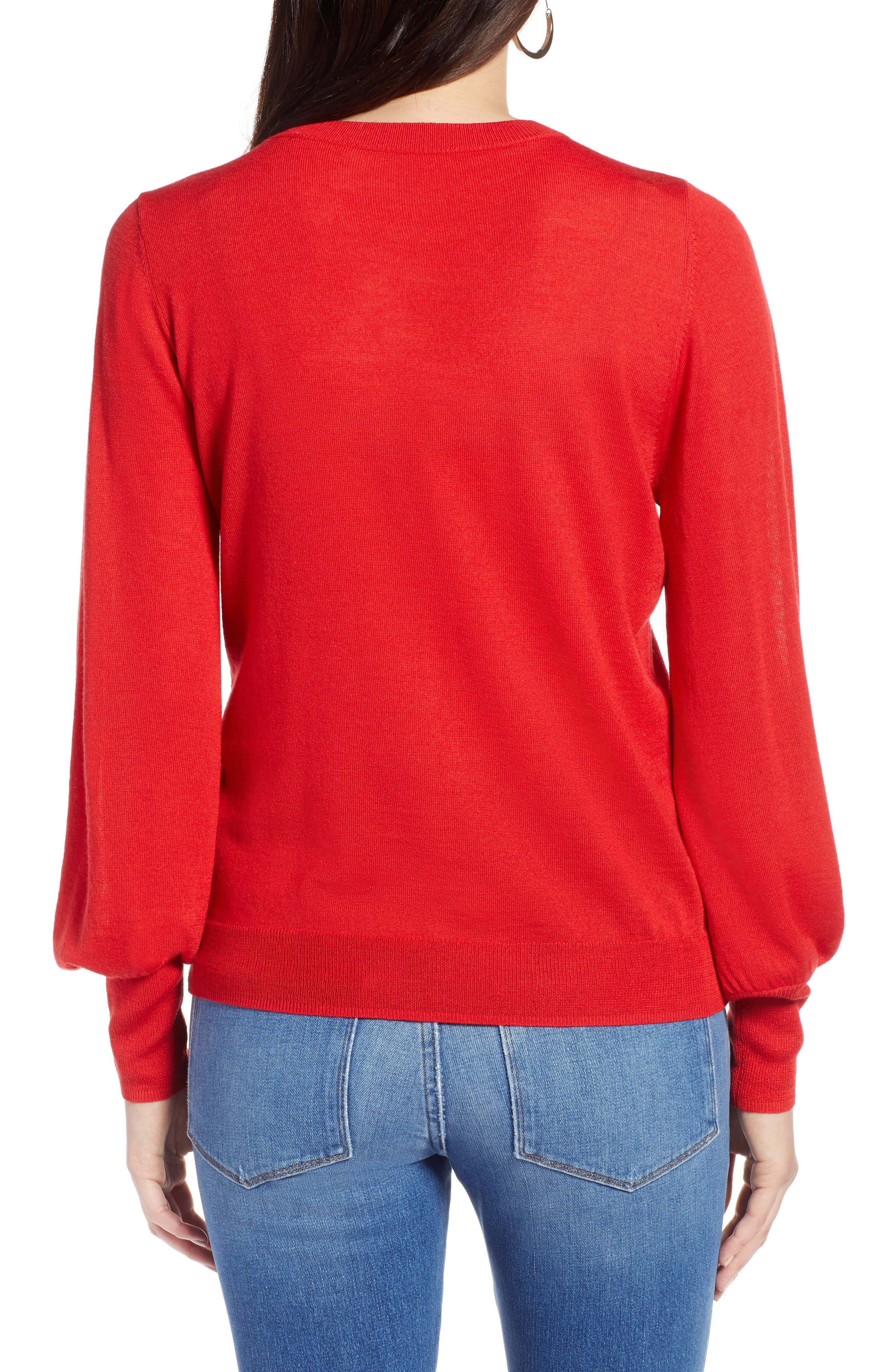 Puff Sleeve Sweater,                             Alternate thumbnail 19, color,