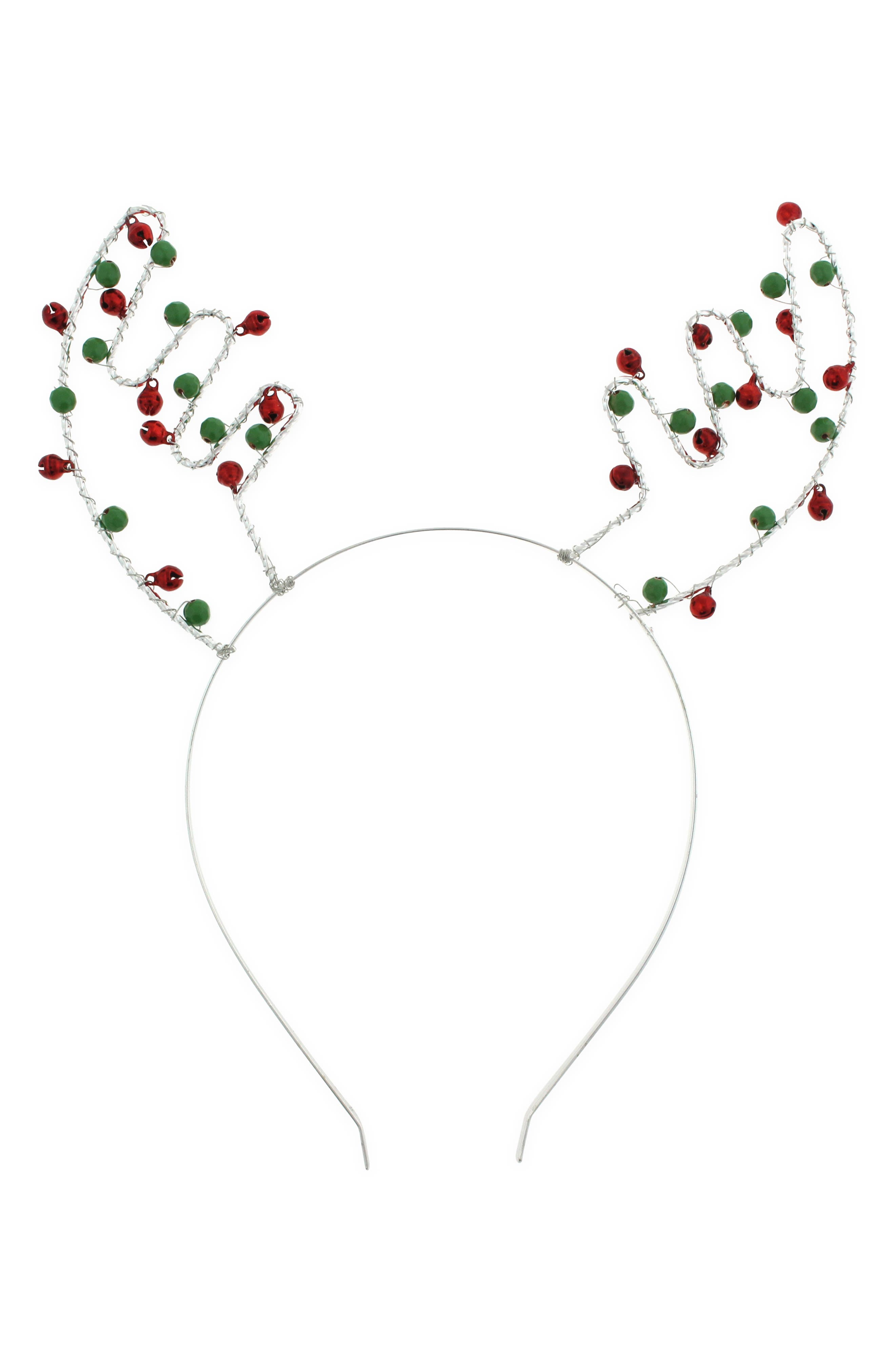Jingle Bell Antler Headband, Main, color, 602